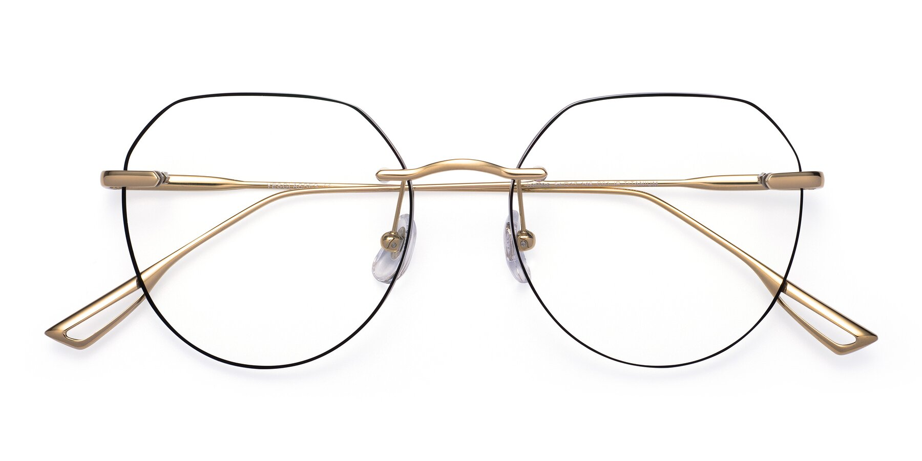 Folded Front of Torres in Gold-Black with Clear Blue Light Blocking Lenses