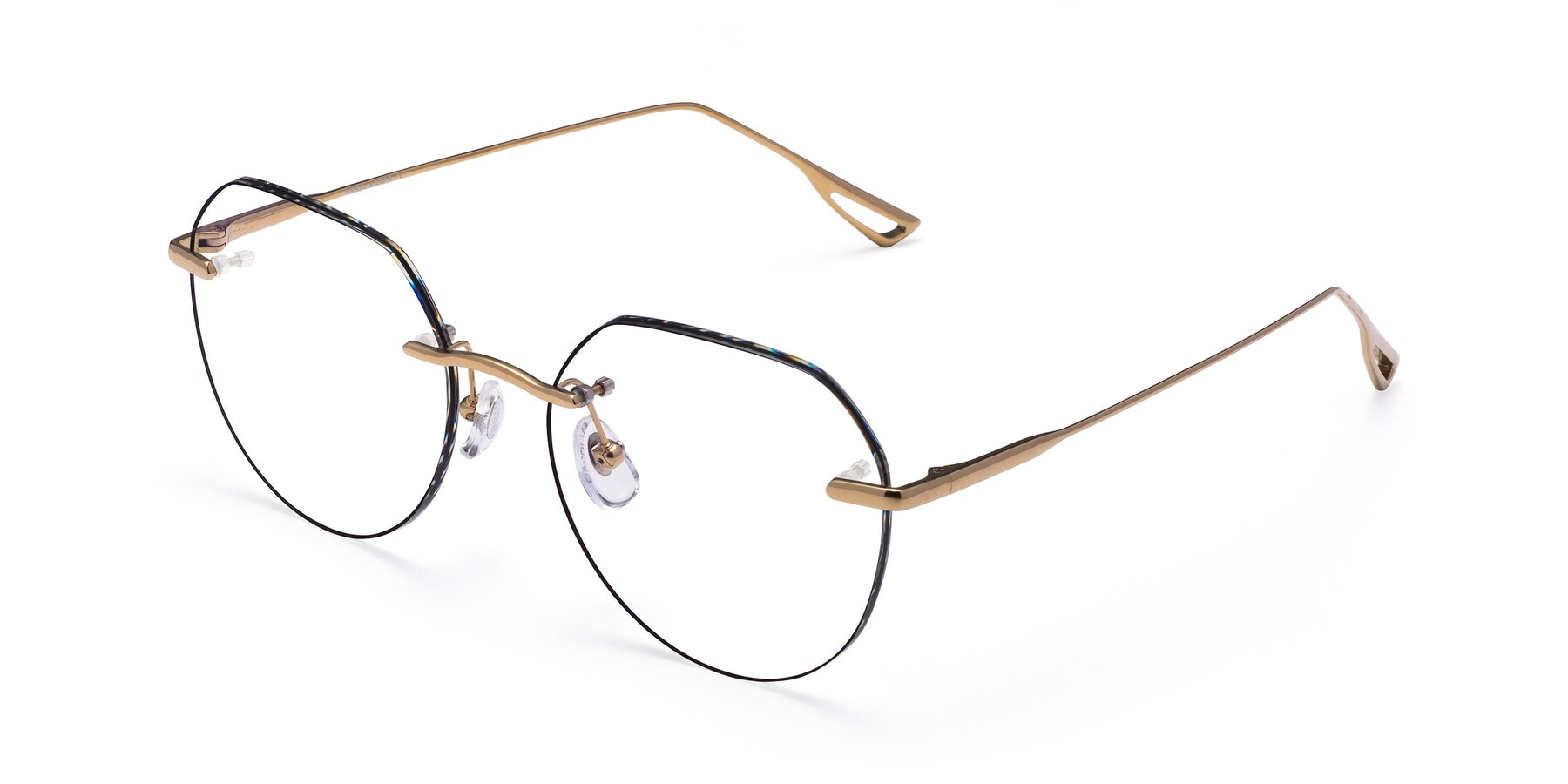 Angle of Torres in Gold-Black with Clear Blue Light Blocking Lenses