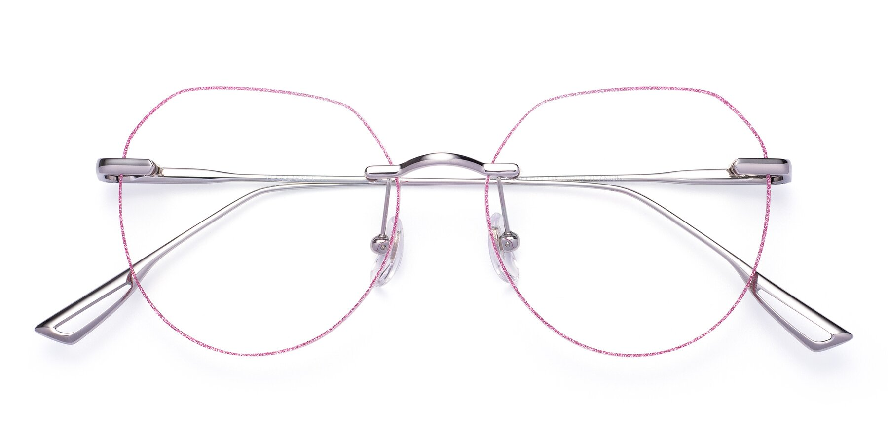 Folded Front of Torres in Silver-Pink Glitter with Clear Eyeglass Lenses