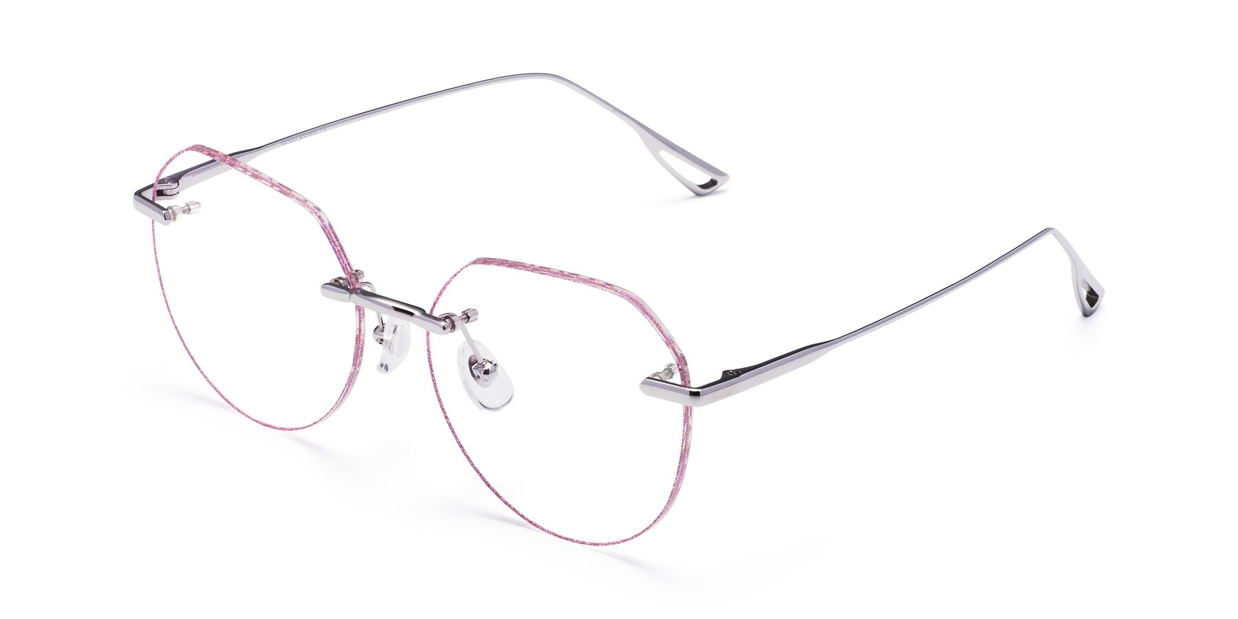 Angle of Torres in Silver-Pink Glitter with Clear Eyeglass Lenses