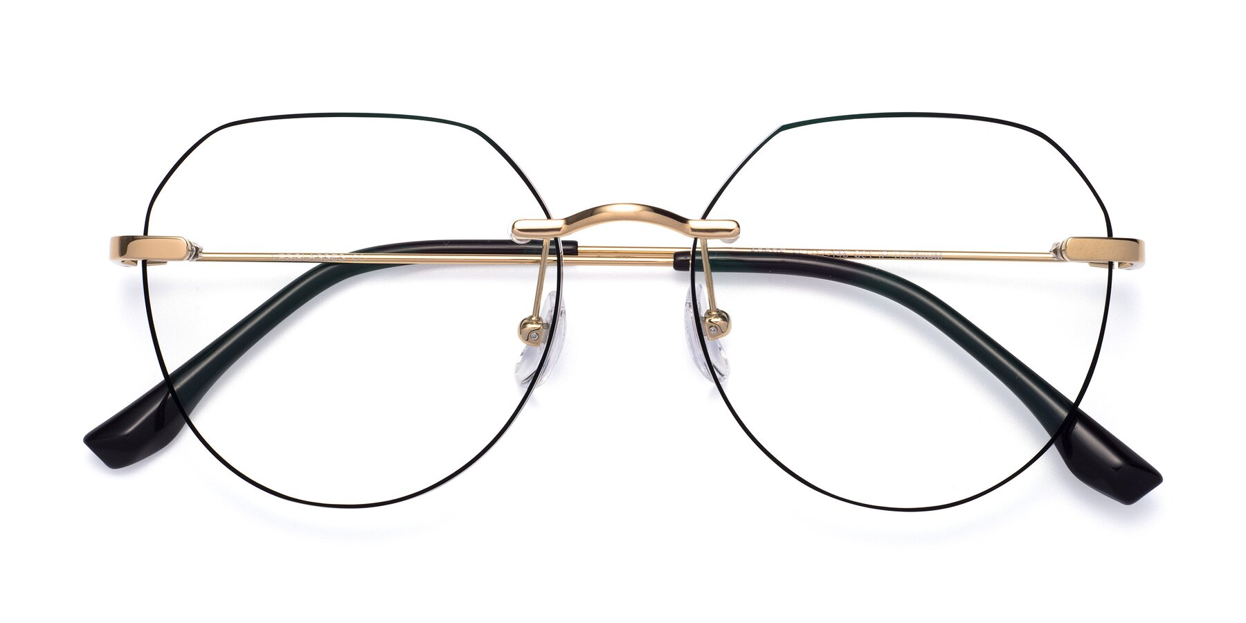 Folded Front of 1960S in Gold-Black with Clear Eyeglass Lenses