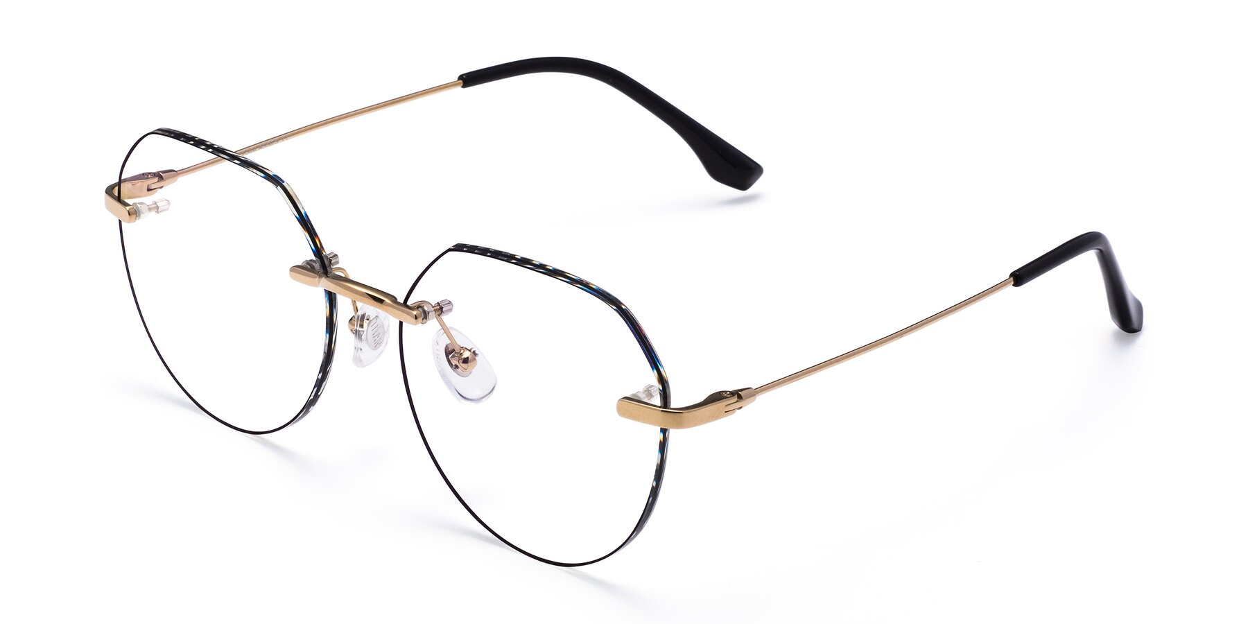 Angle of 1960S in Gold-Black with Clear Blue Light Blocking Lenses