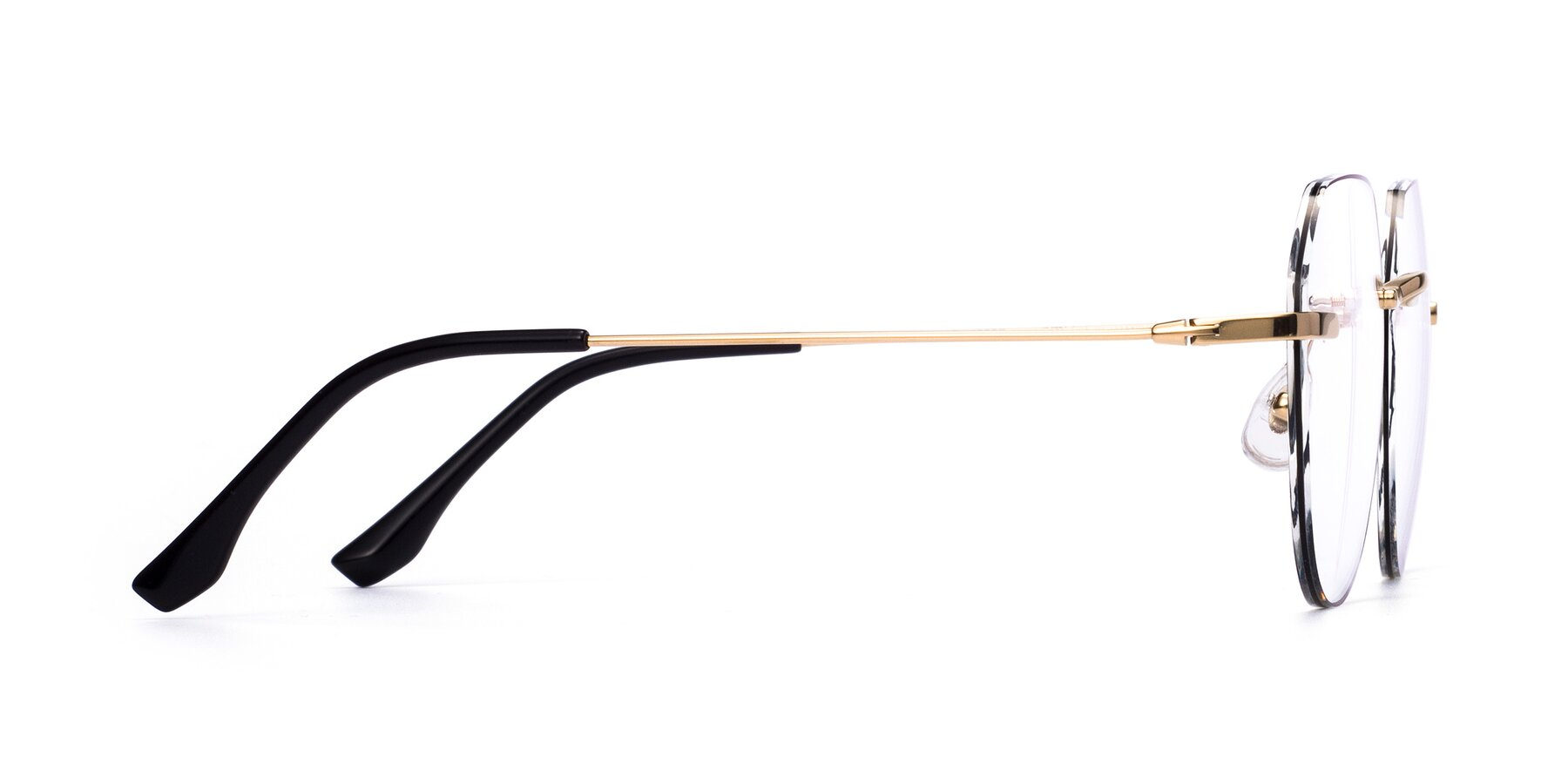 Side of 1960S in Gold-Black with Clear Eyeglass Lenses