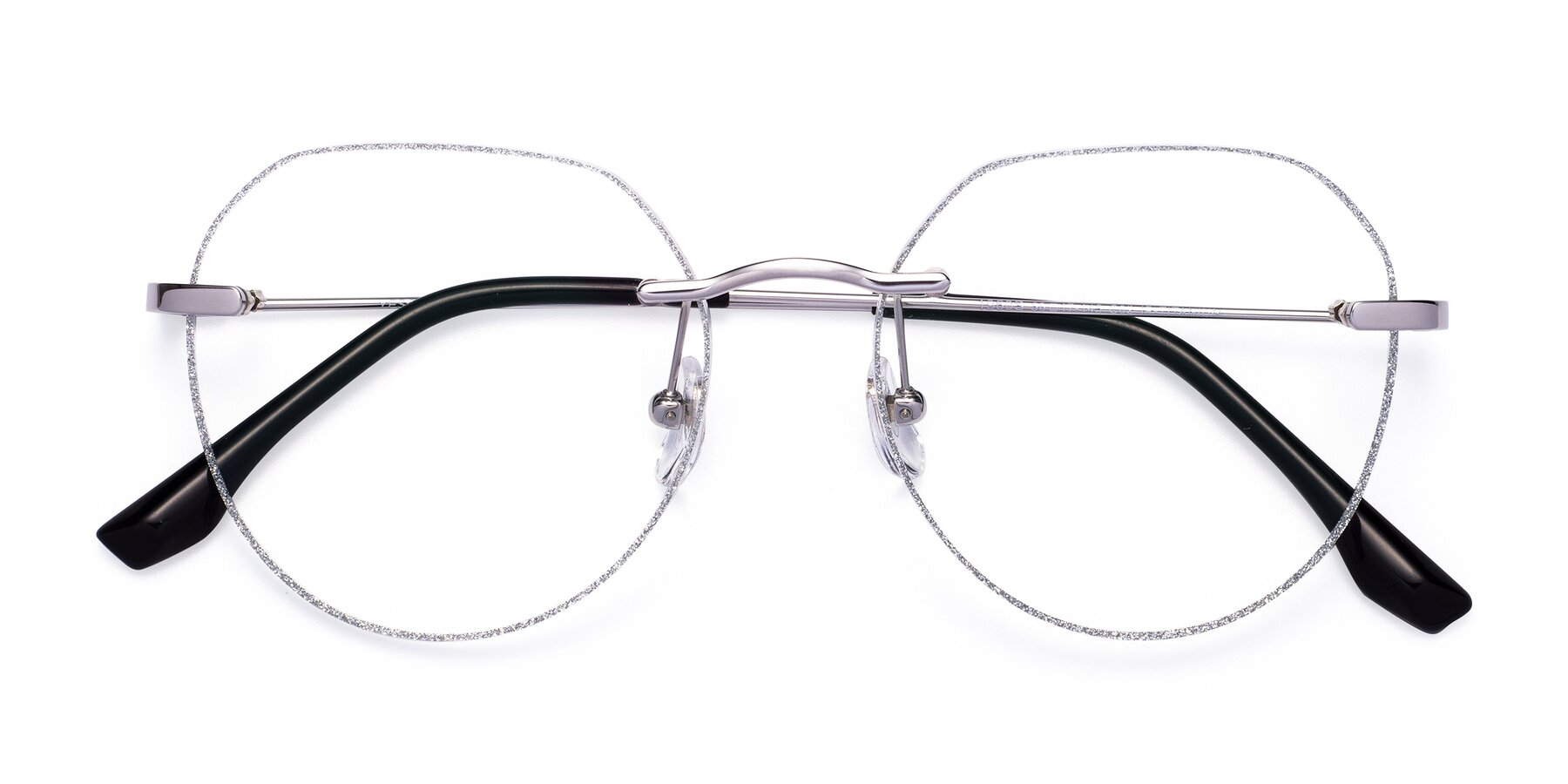 Folded Front of 1960S in Silver-Silver Glitter with Clear Eyeglass Lenses