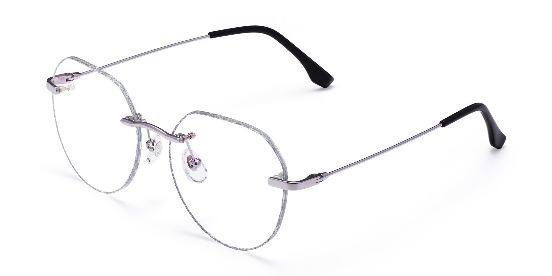 Angle of 1960S in Silver-Silver Glitter with Clear Eyeglass Lenses