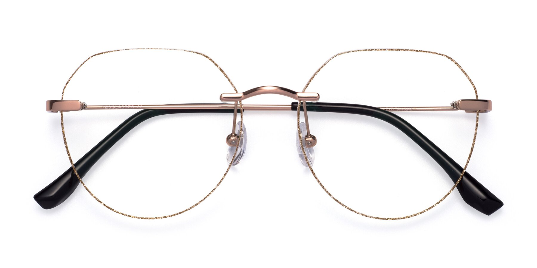 Folded Front of 1960S in Rose Gold-Gold Glitter with Clear Eyeglass Lenses