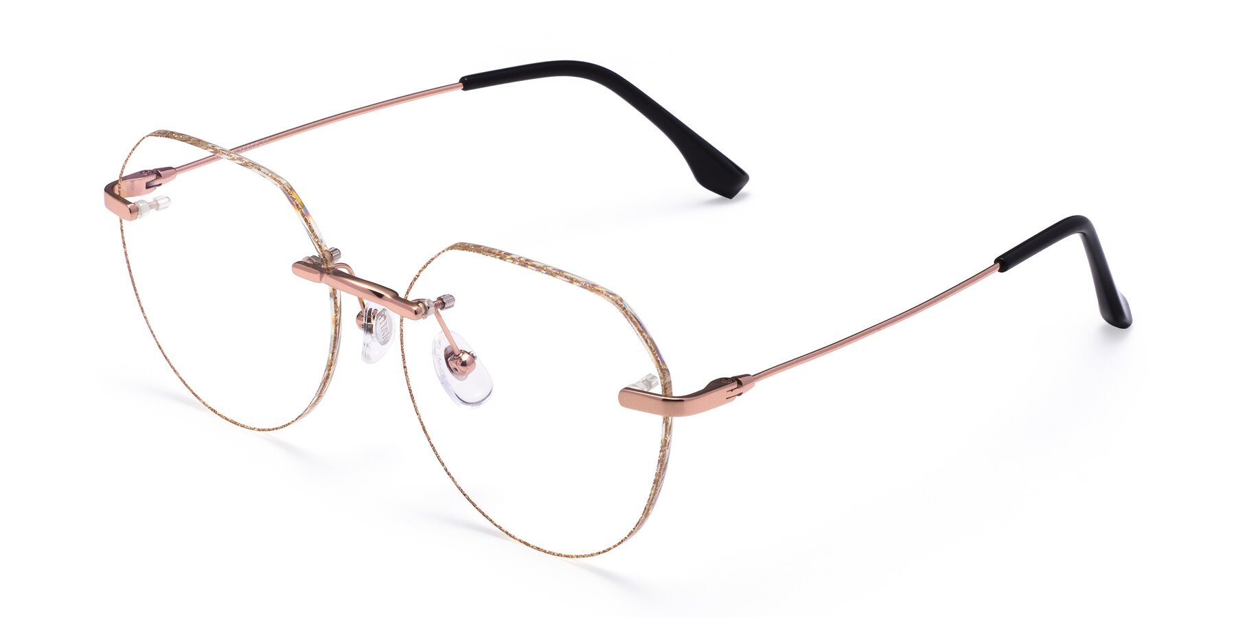 Angle of 1960S in Rose Gold-Gold Glitter with Clear Eyeglass Lenses