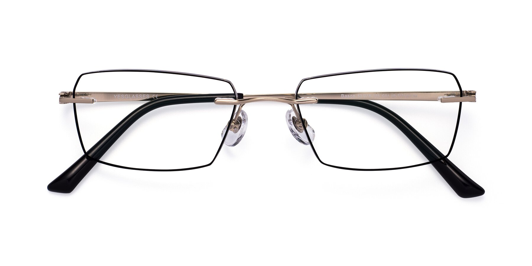 Folded Front of Basco in Gold-Black with Clear Blue Light Blocking Lenses