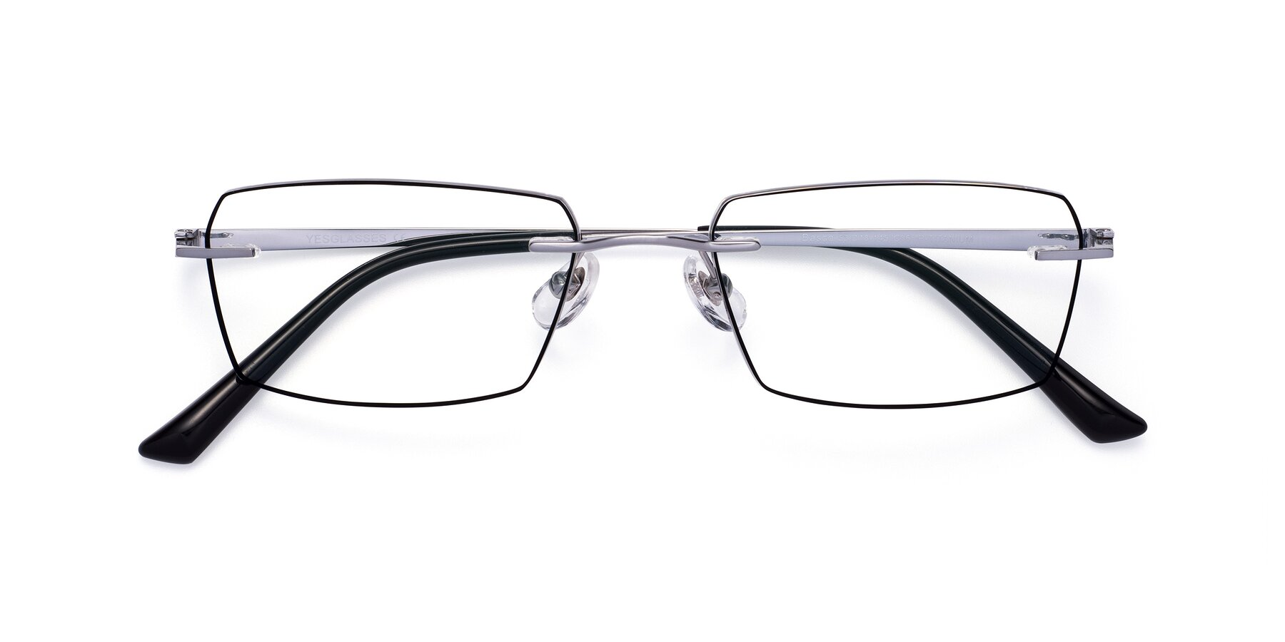 Folded Front of Basco in Silver-Black with Clear Eyeglass Lenses