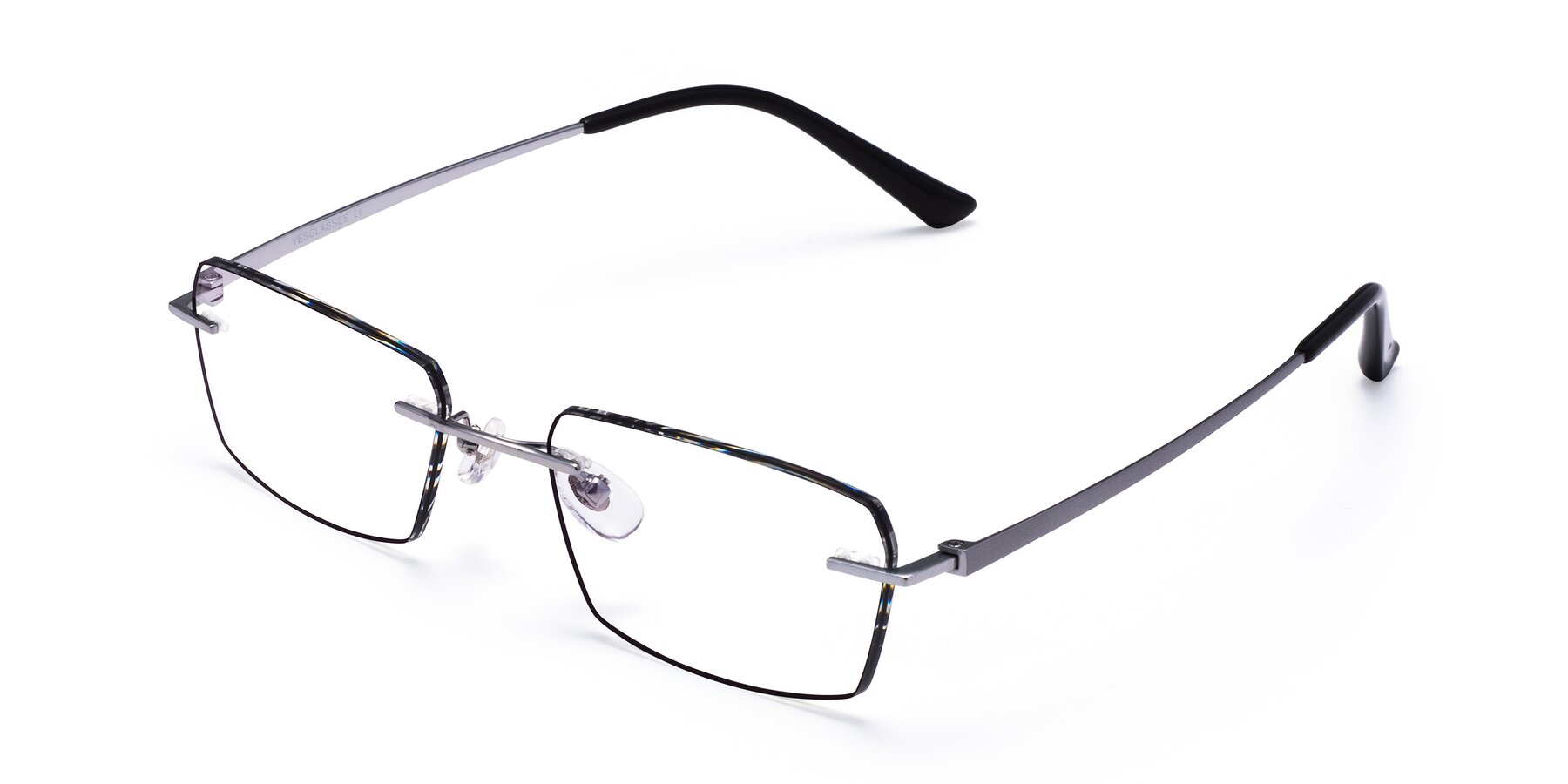 Angle of Basco in Silver-Black with Clear Eyeglass Lenses