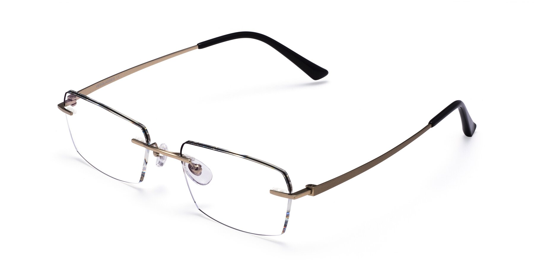 Angle of Basco in Gold-Black with Clear Blue Light Blocking Lenses