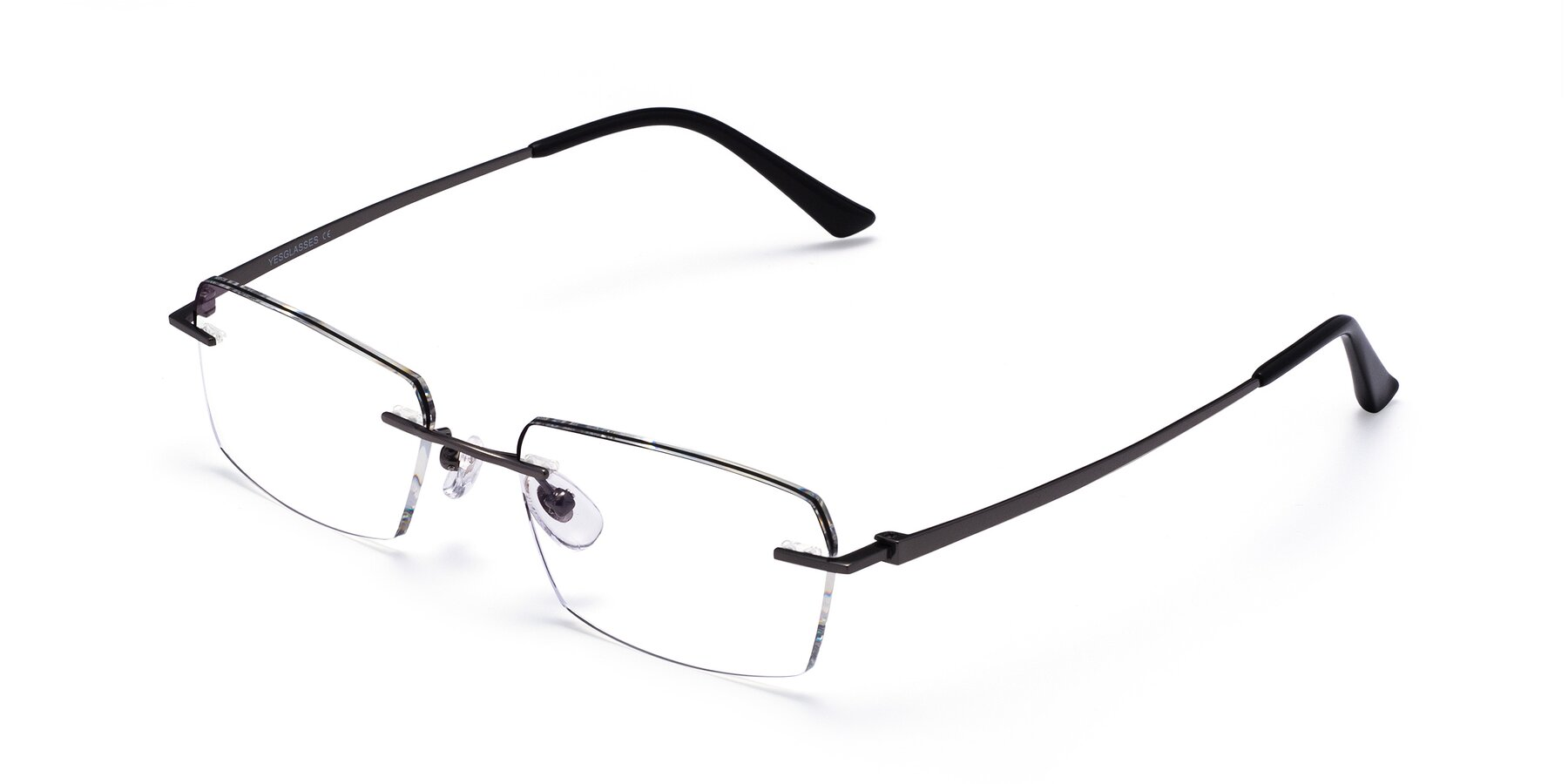 Angle of Basco in Gun-Black with Clear Blue Light Blocking Lenses