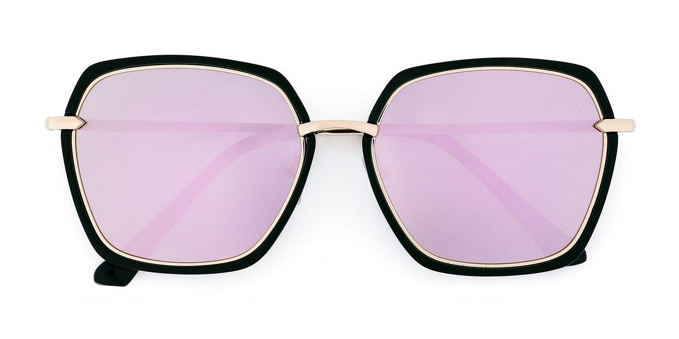 5847 - Black / Gold Mirrored Polarized Sunglasses