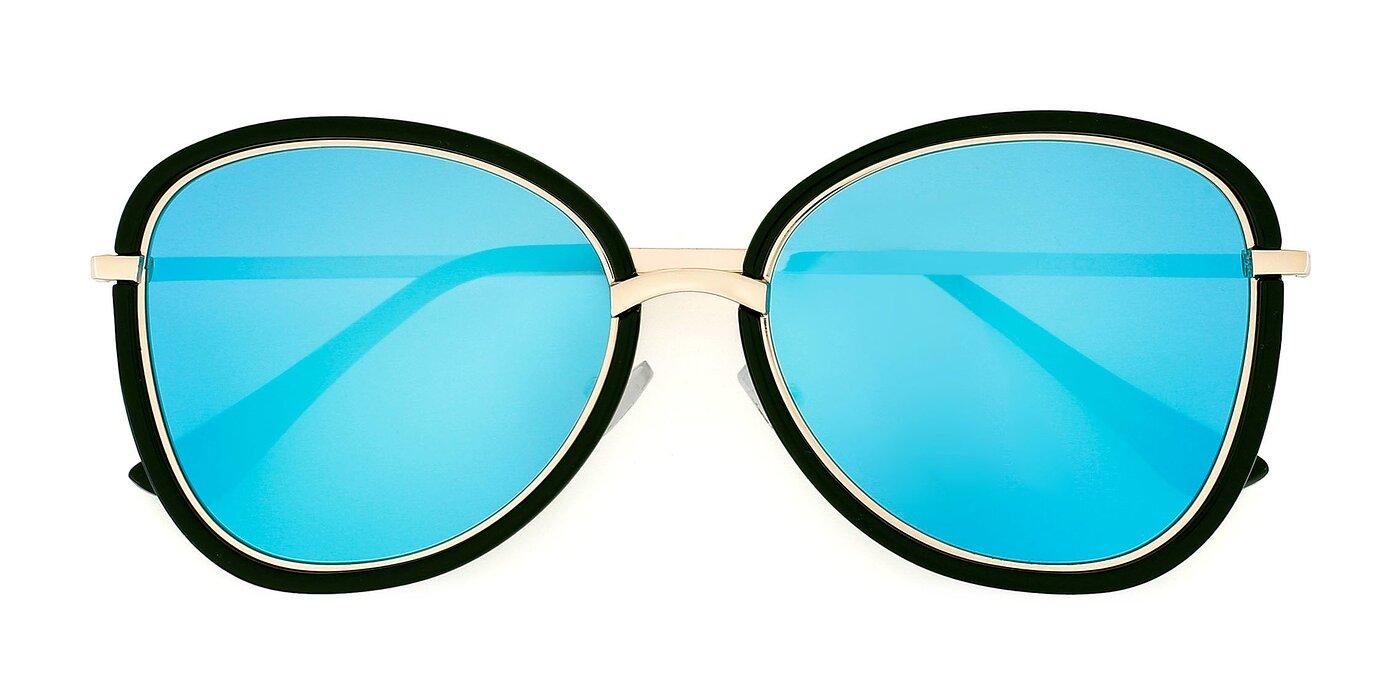 JC2033 - Black / Gold Mirrored Polarized Sunglasses