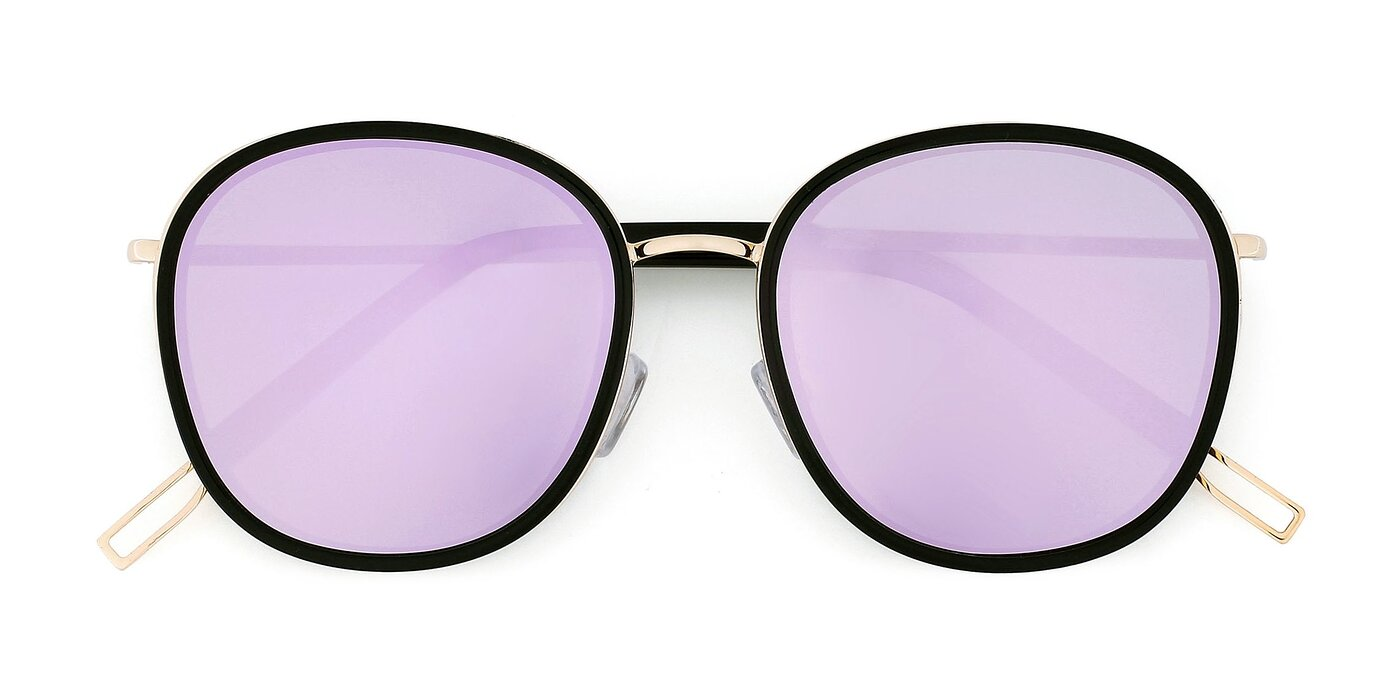 12117 - Black / Gold Mirrored Polarized Sunglasses