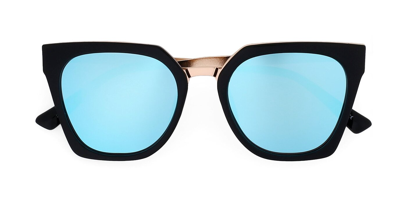2507 - Black / Gold Mirrored Polarized Sunglasses