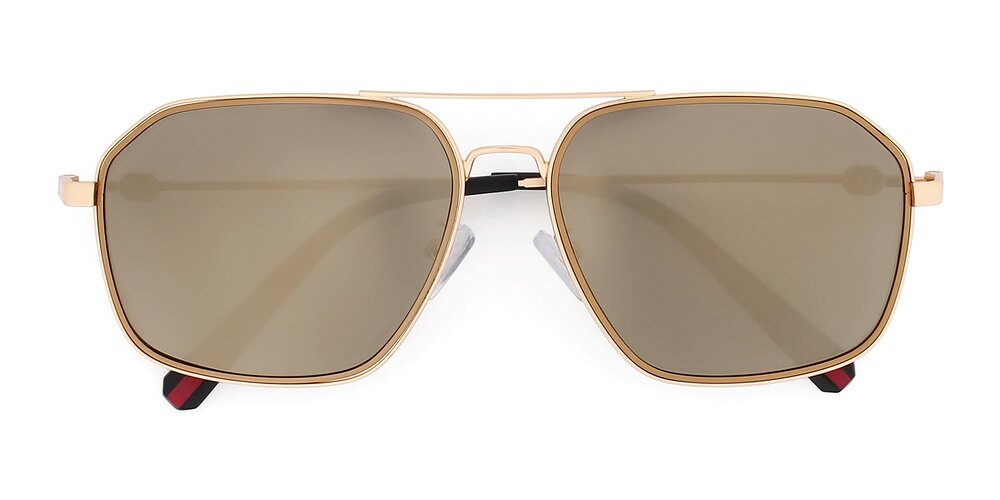 Gold Wide Grandpa Aviator Mirrored Polarized Sunglasses With Gold Non-Rx TAC Sun Lenses