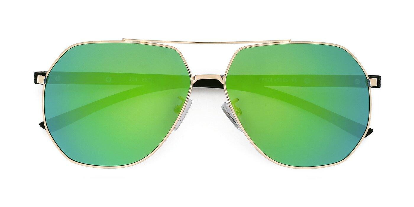 2841 - Gold Mirrored Polarized Sunglasses