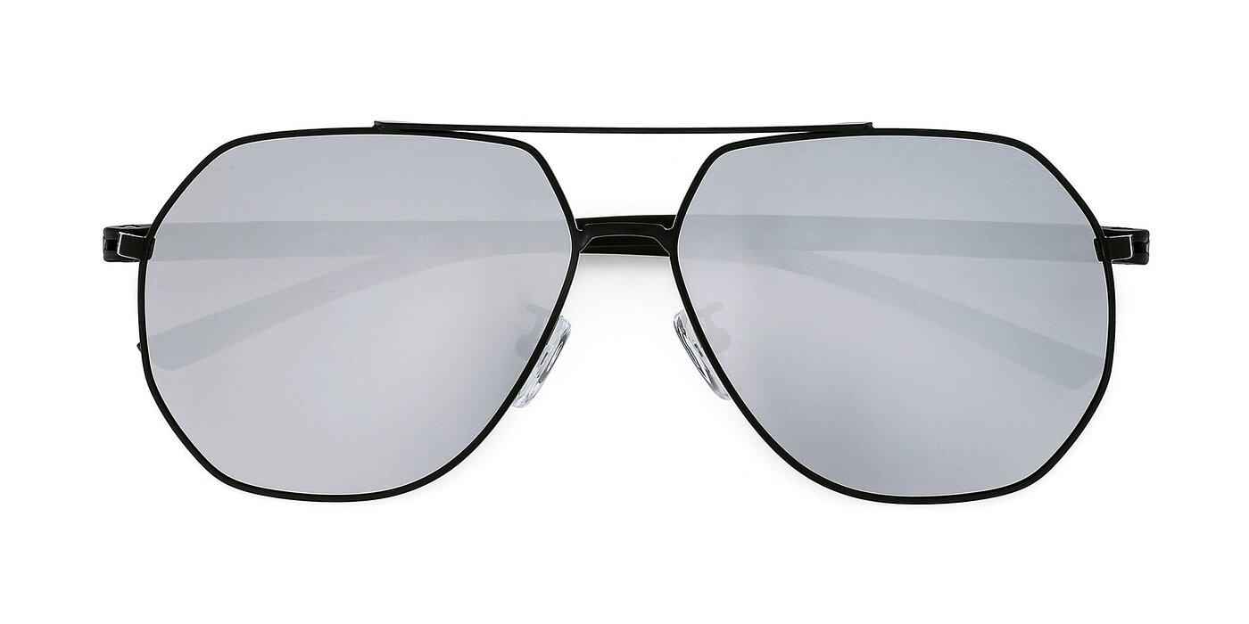 2841 - Black Mirrored Polarized Sunglasses