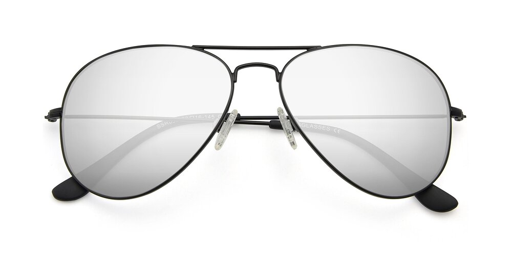 Black Oversized Thin Aviator Mirrored Polarized Sunglasses With Silver Non-Rx TAC Sun Lenses