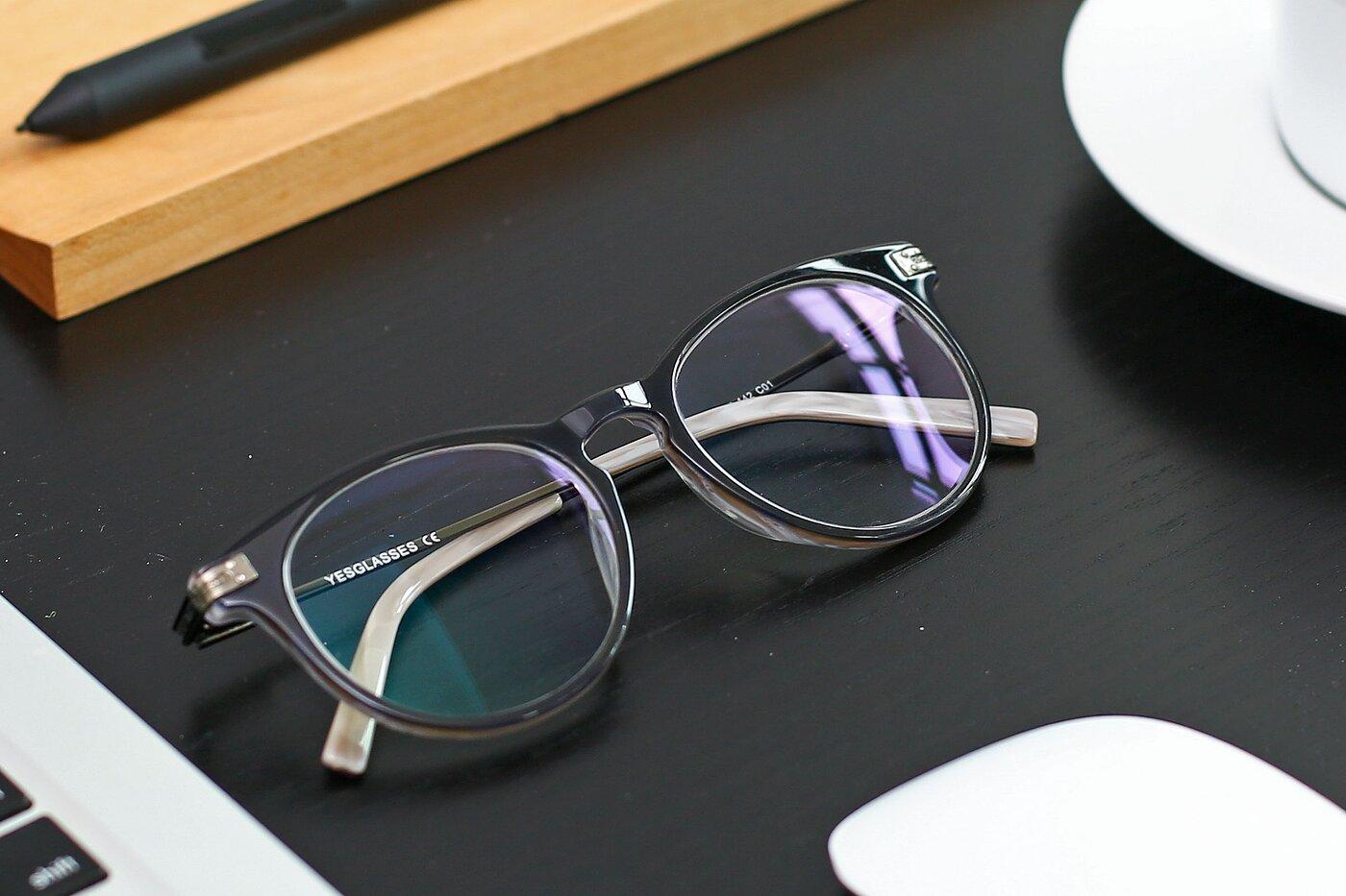 Gray Oversized Hipster Round Eyeglasses