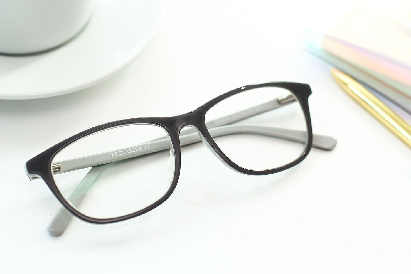 Gray Wayfarer Hipster Rectangle Eyeglasses