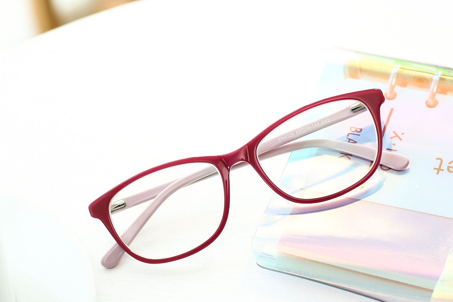 Women's lifestyle photography #1 of SR6026 in Pink with Clear Eyeglass Lenses