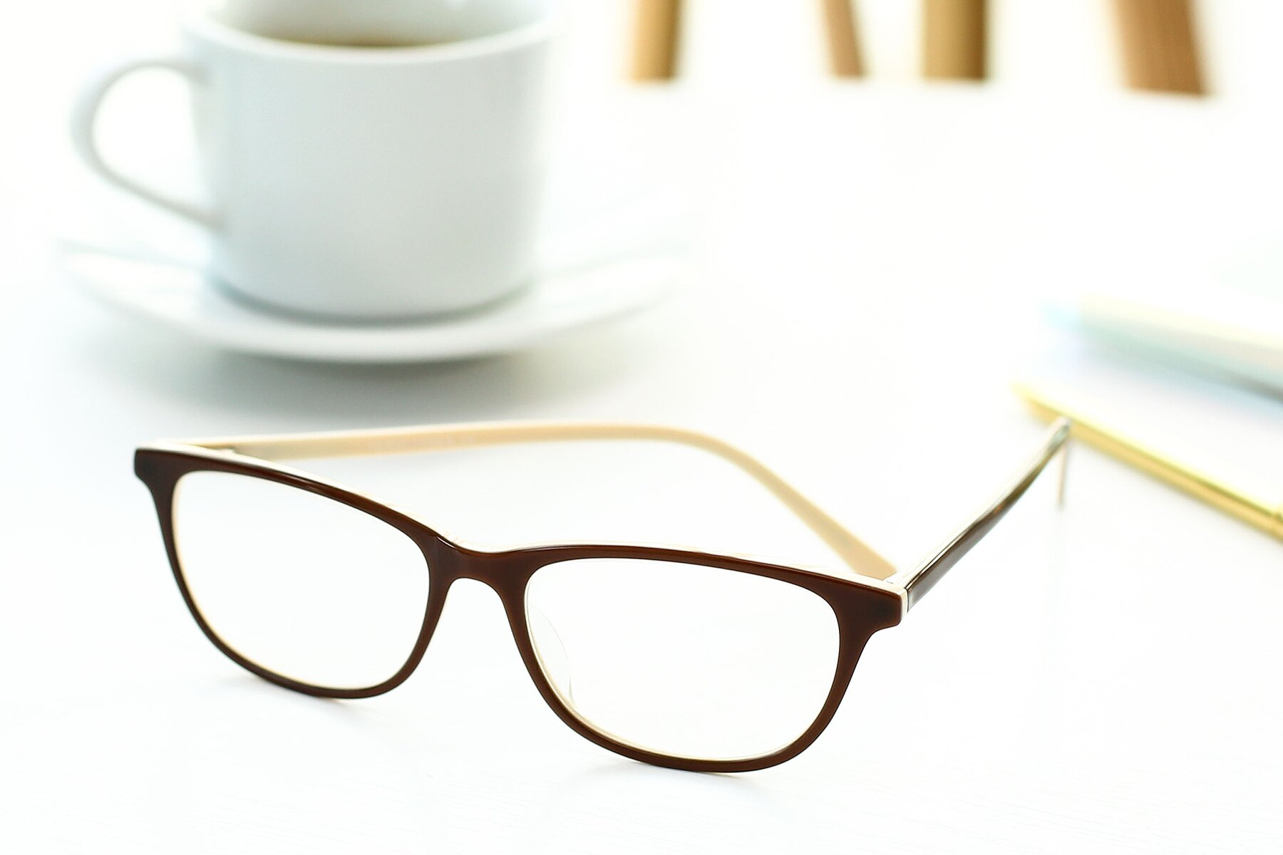 Lifestyle photography #2 of SR6026 in Coffee with Clear Eyeglass Lenses