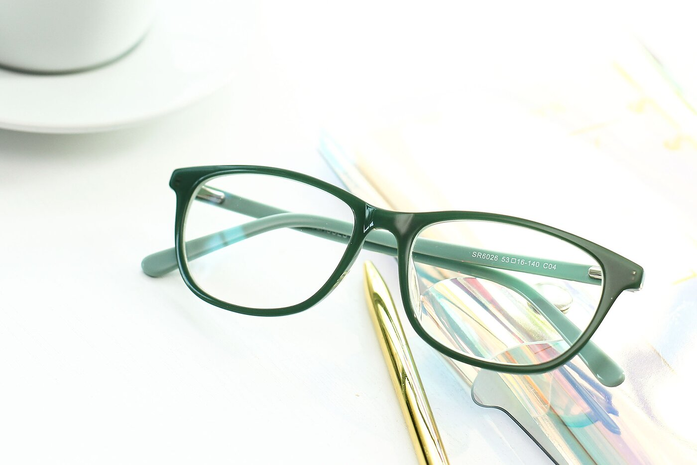 Sea Green Wayfarer Hipster Rectangle Eyeglasses