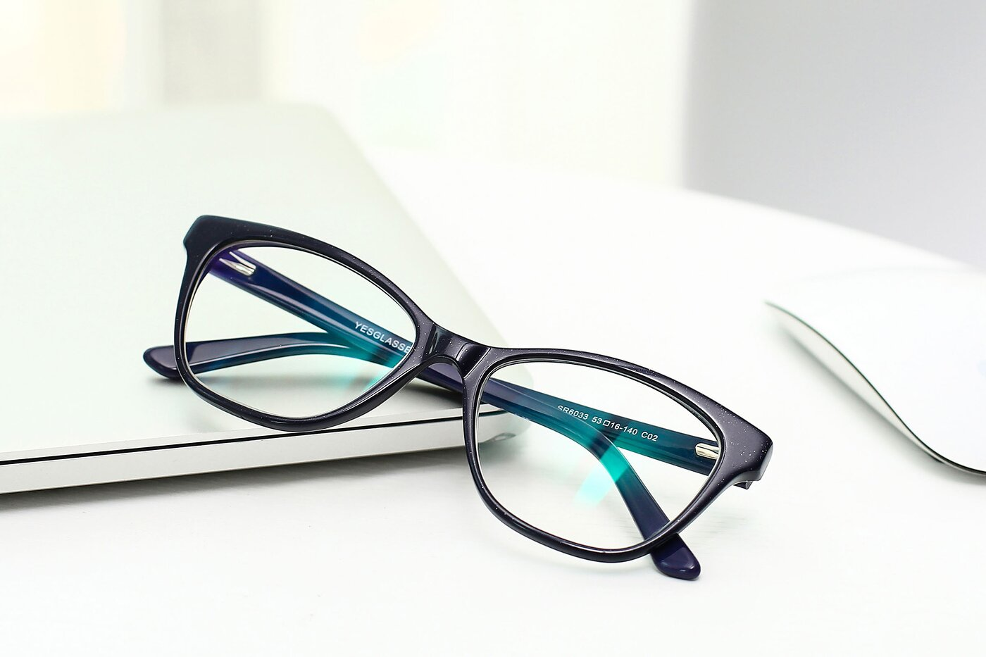 Navy Horn-Rimmed Geek-Chic Cat-Eye Eyeglasses
