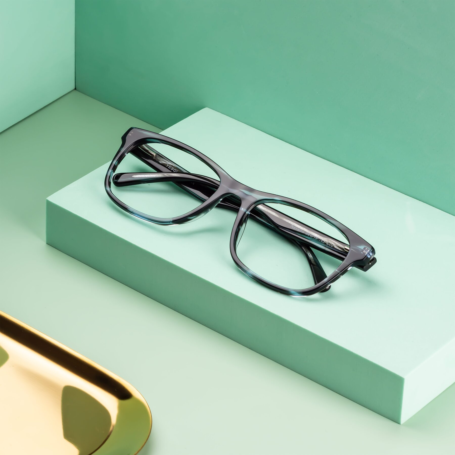 Men's lifestyle photography #2 of Navarro in Blue-Tortoise with Clear Eyeglass Lenses