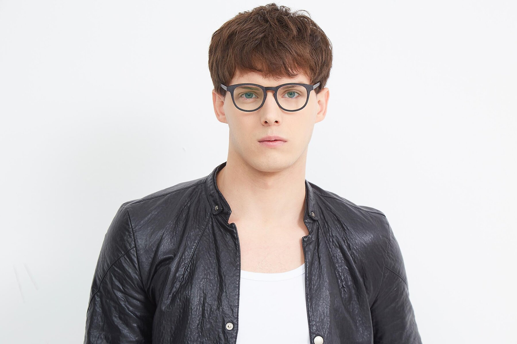 Men's lifestyle photography (landscape-1) of SR6044 in Black-Wooden with Clear Eyeglass Lenses