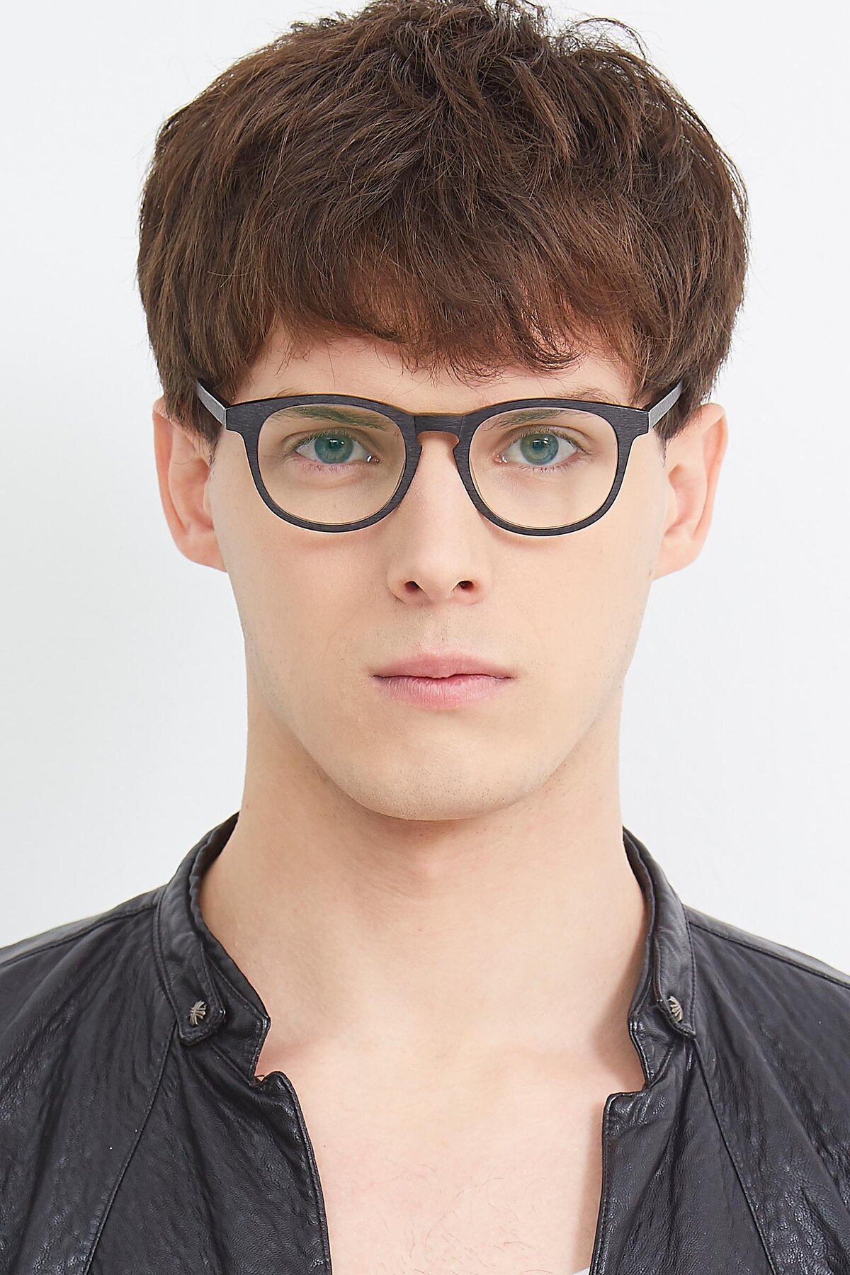Men's lifestyle photography (portrait-1) of SR6044 in Black-Wooden with Clear Eyeglass Lenses