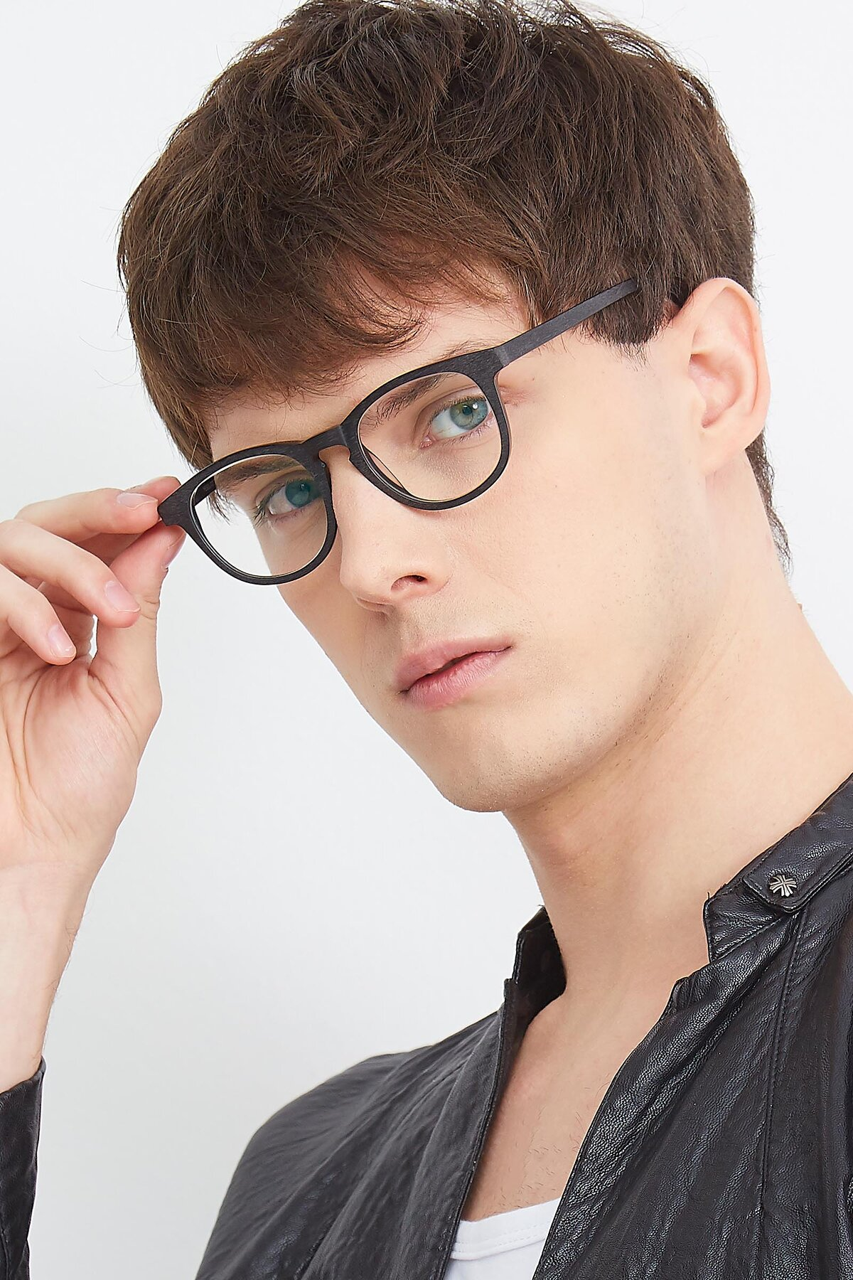 Men's lifestyle photography (portrait-2) of SR6044 in Black-Wooden with Clear Eyeglass Lenses