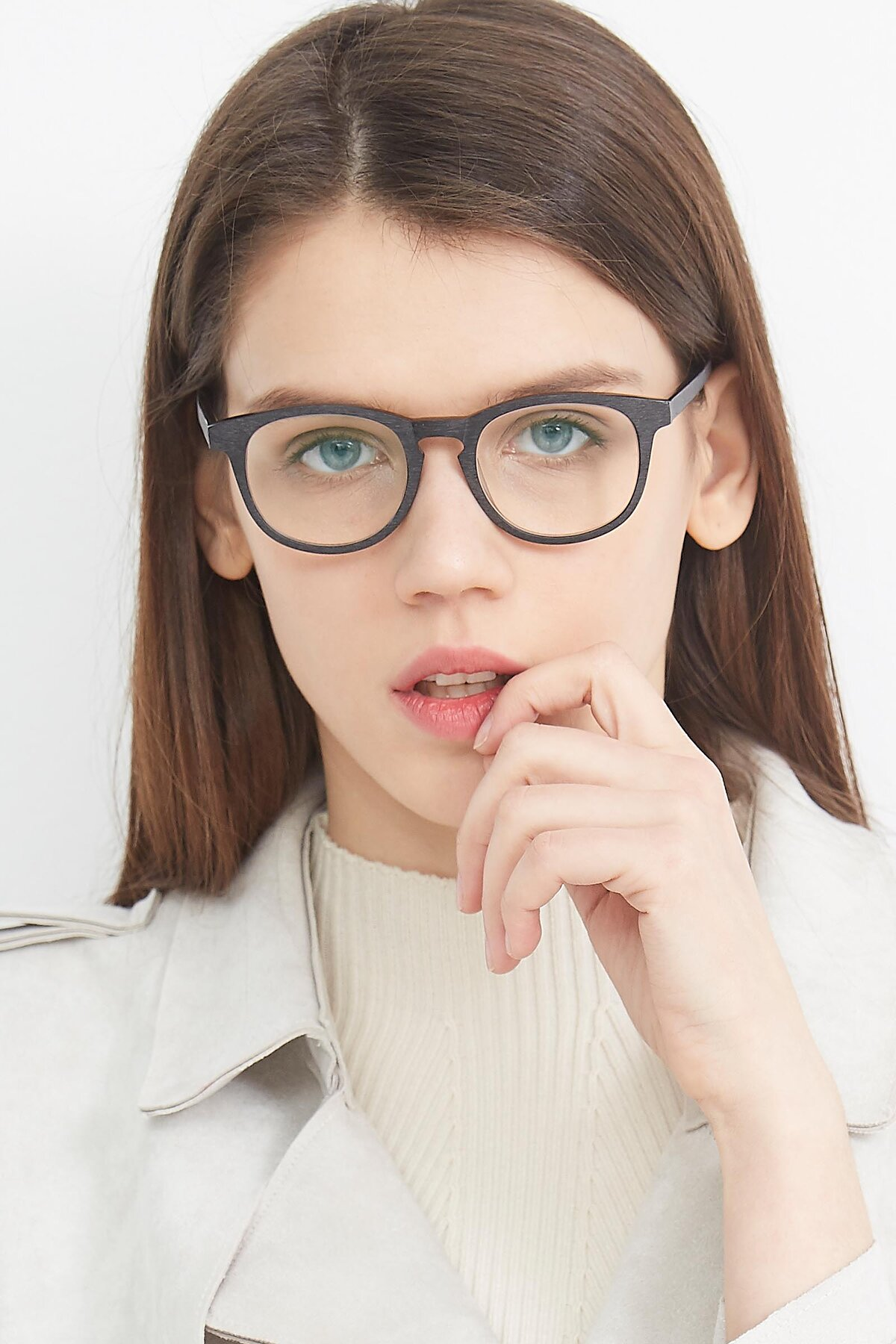 Women's lifestyle photography (portrait-1) of SR6044 in Black-Wooden with Clear Eyeglass Lenses