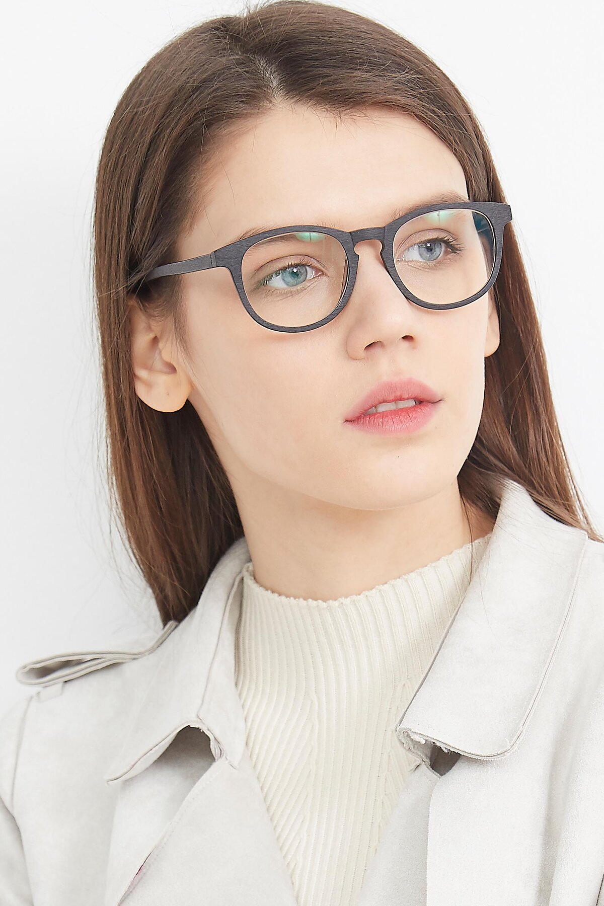 Women's lifestyle photography (portrait-2) of SR6044 in Black-Wooden with Clear Eyeglass Lenses