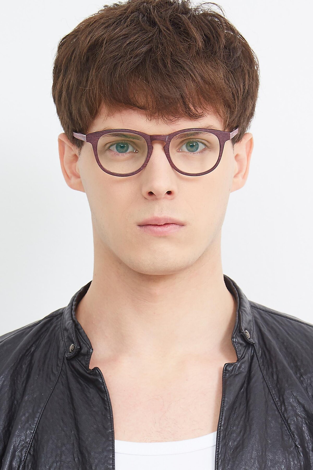 Men's lifestyle photography (portrait-1) of SR6044 in Wine-Wooden with Clear Eyeglass Lenses