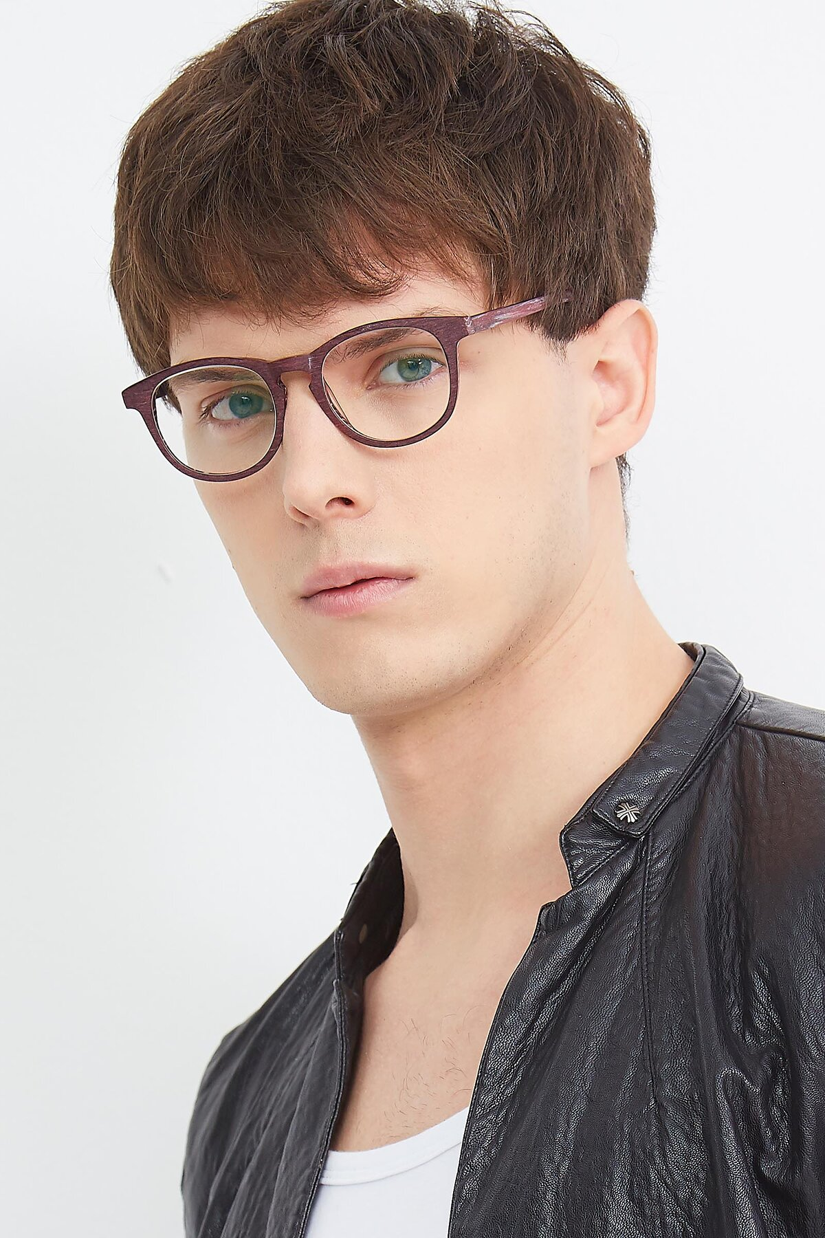 Men's lifestyle photography (portrait-2) of SR6044 in Wine-Wooden with Clear Eyeglass Lenses