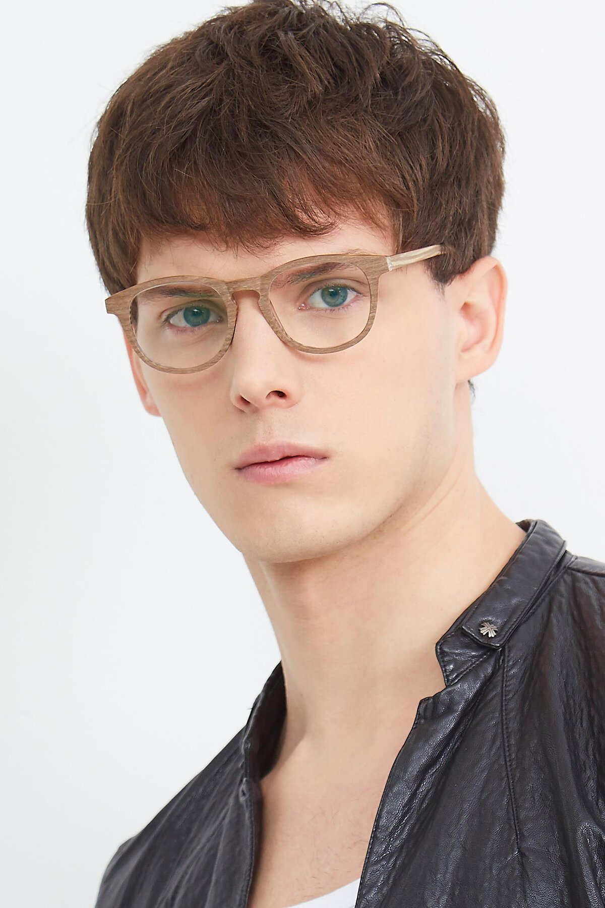 Men's lifestyle photography (portrait-1) of SR6044 in Brown-Wooden with Clear Eyeglass Lenses