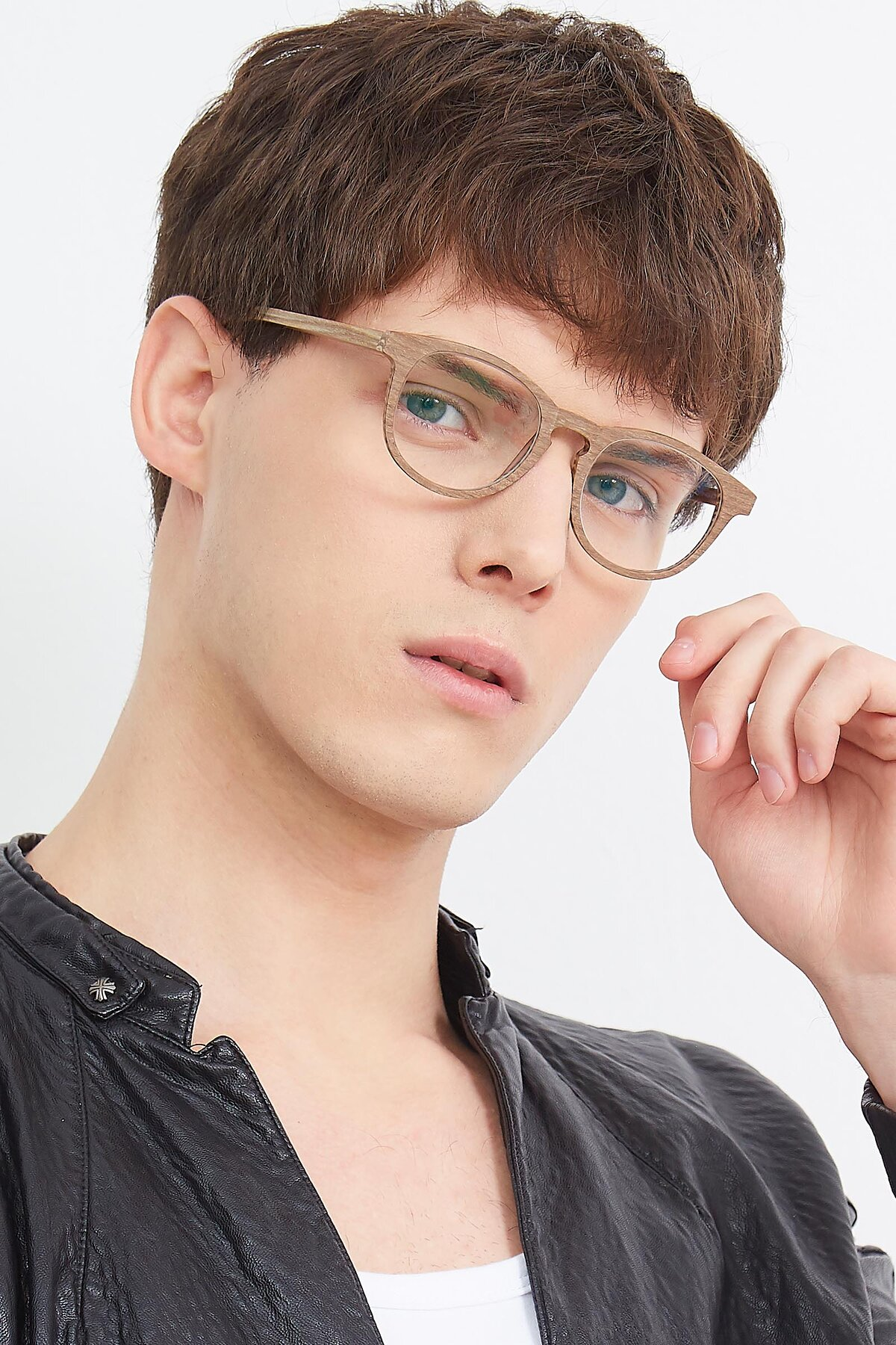 Men's lifestyle photography (portrait-2) of SR6044 in Brown-Wooden with Clear Eyeglass Lenses