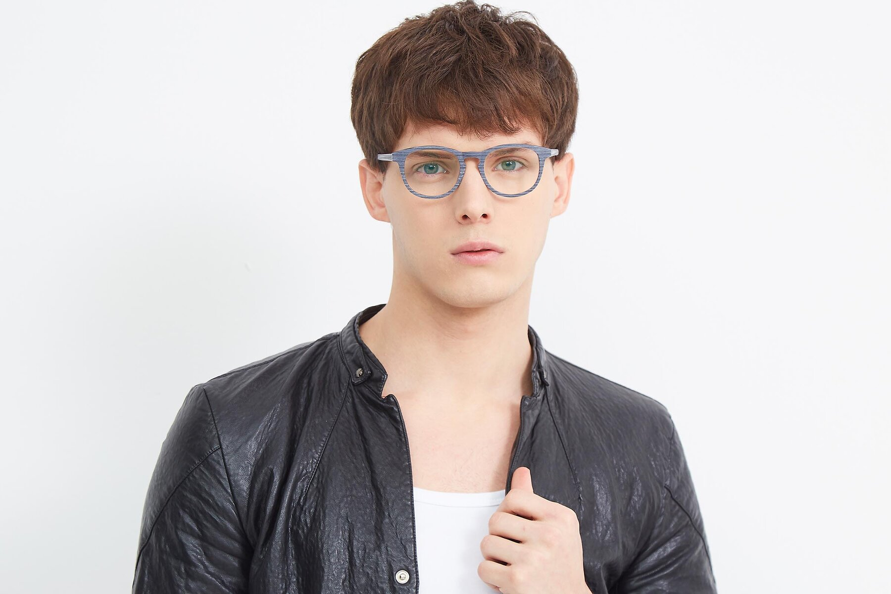 Men's lifestyle photography (landscape-1) of SR6044 in Gray-Wooden with Clear Eyeglass Lenses
