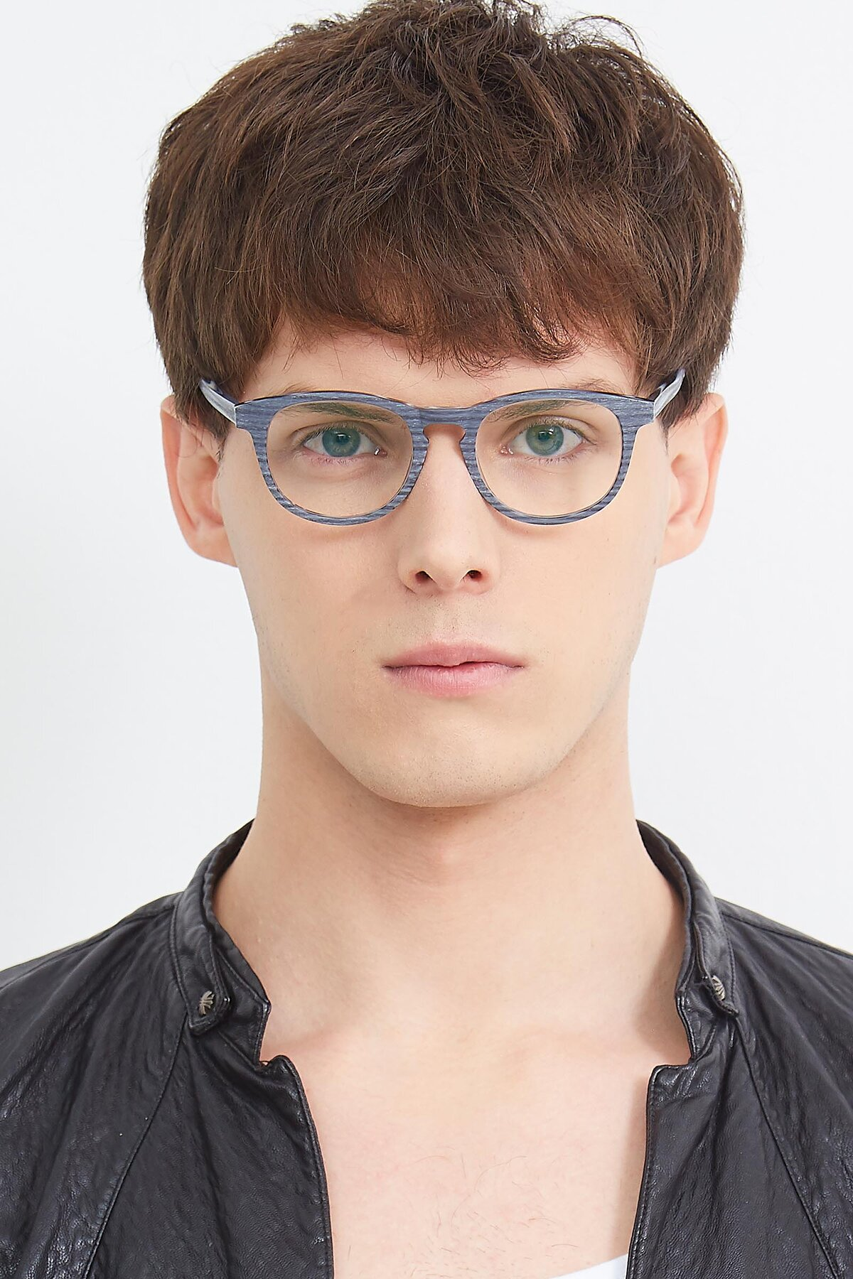 Men's lifestyle photography (portrait-1) of SR6044 in Gray-Wooden with Clear Blue Light Blocking Lenses