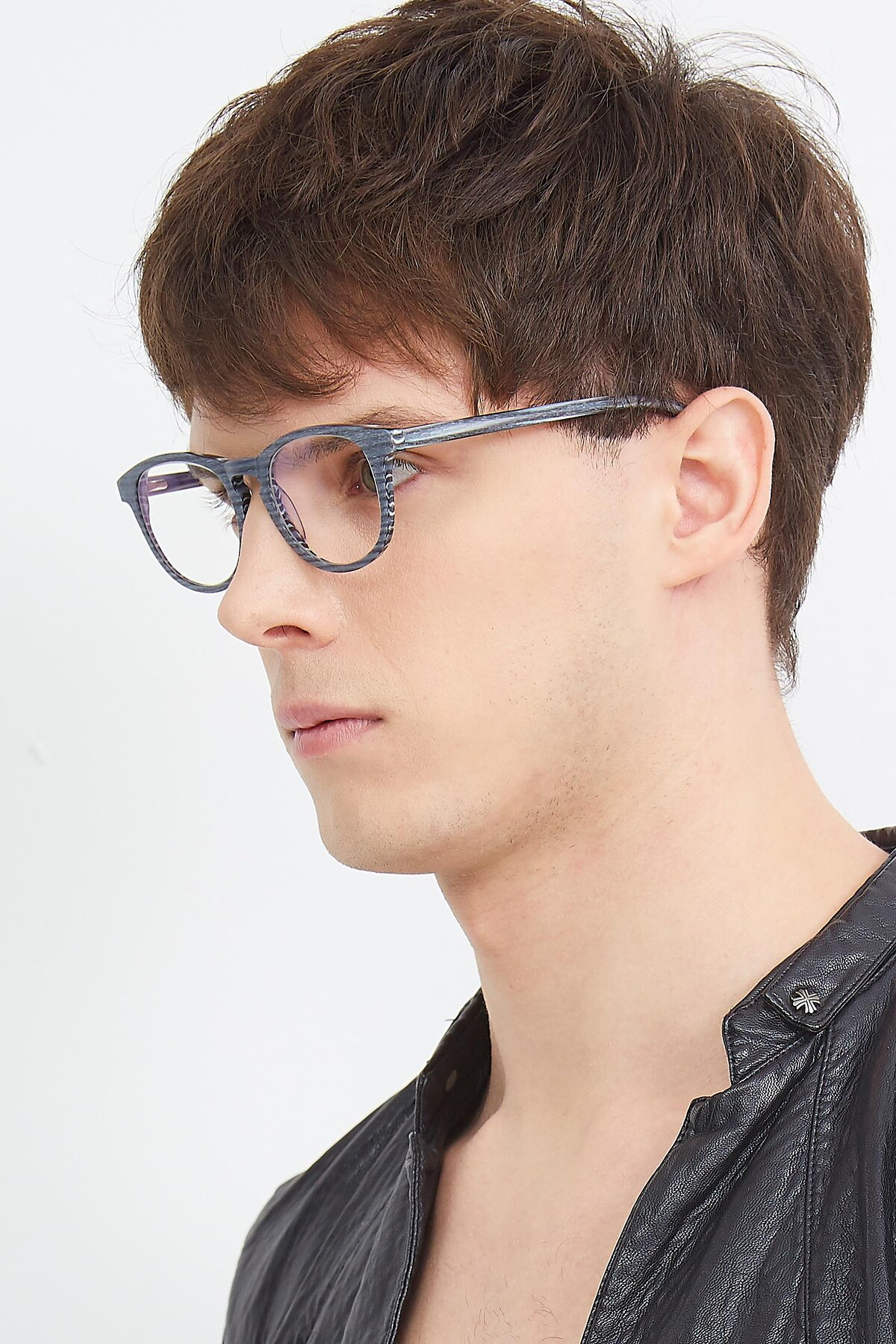 Men's lifestyle photography (portrait-2) of SR6044 in Gray-Wooden with Clear Blue Light Blocking Lenses