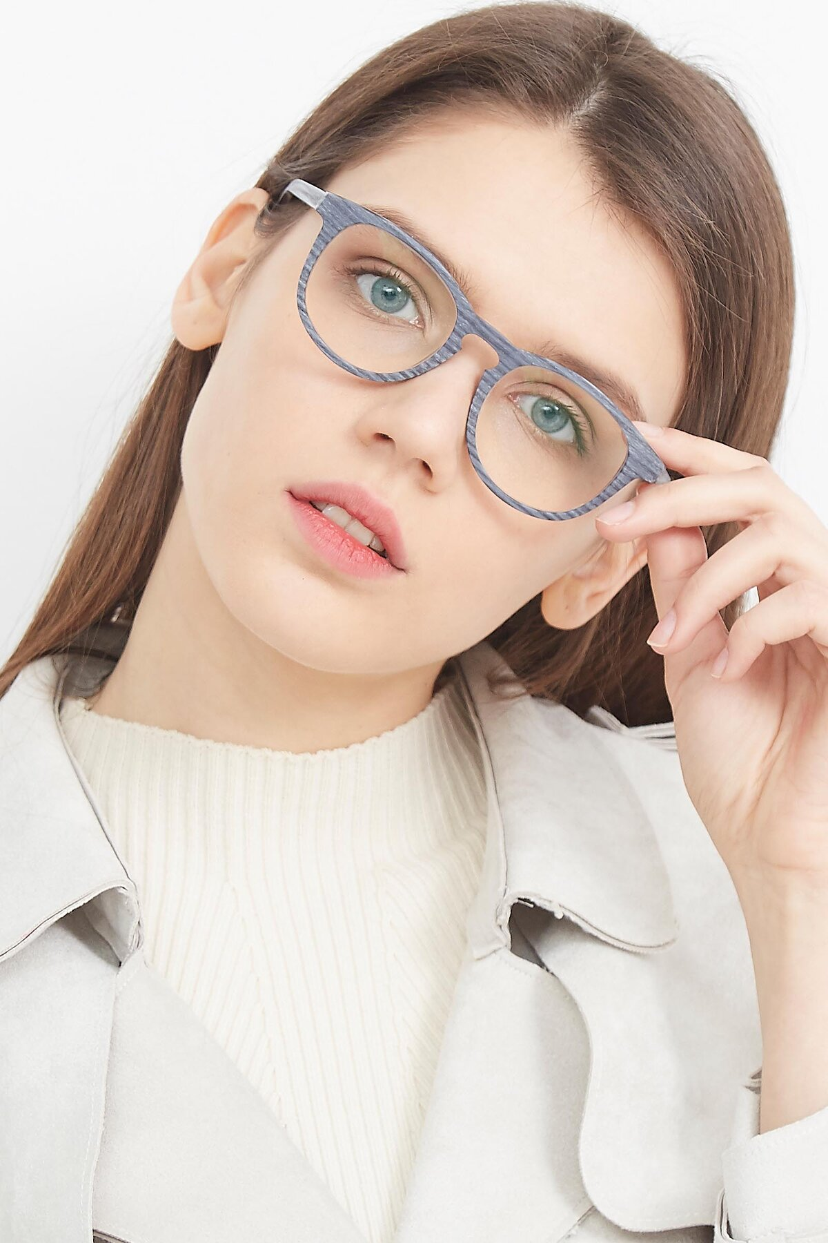 Women's lifestyle photography (portrait-2) of SR6044 in Gray-Wooden with Clear Blue Light Blocking Lenses