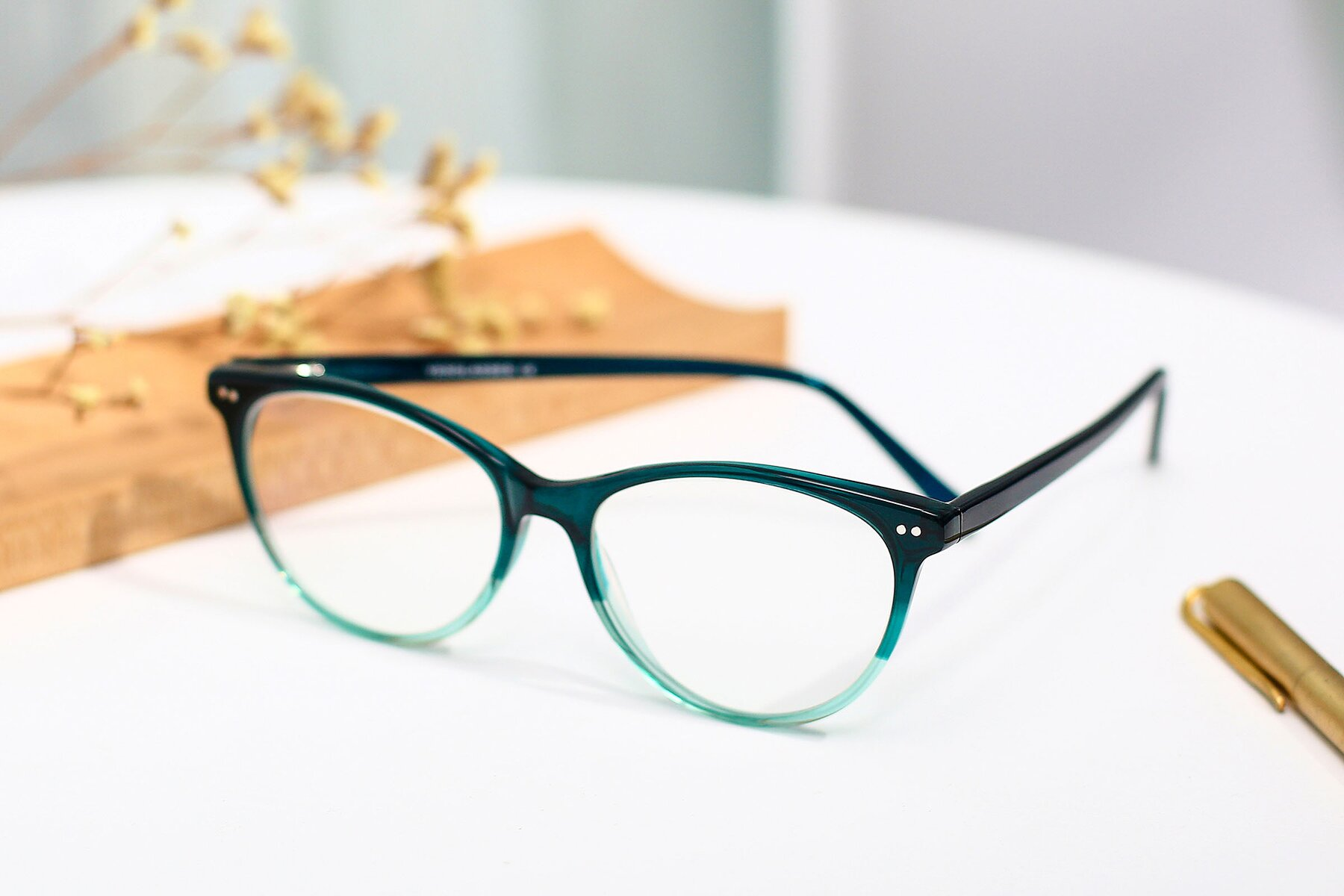 Women's lifestyle photography #2 of SR6050 in Transparent Gradient Green with Clear Eyeglass Lenses