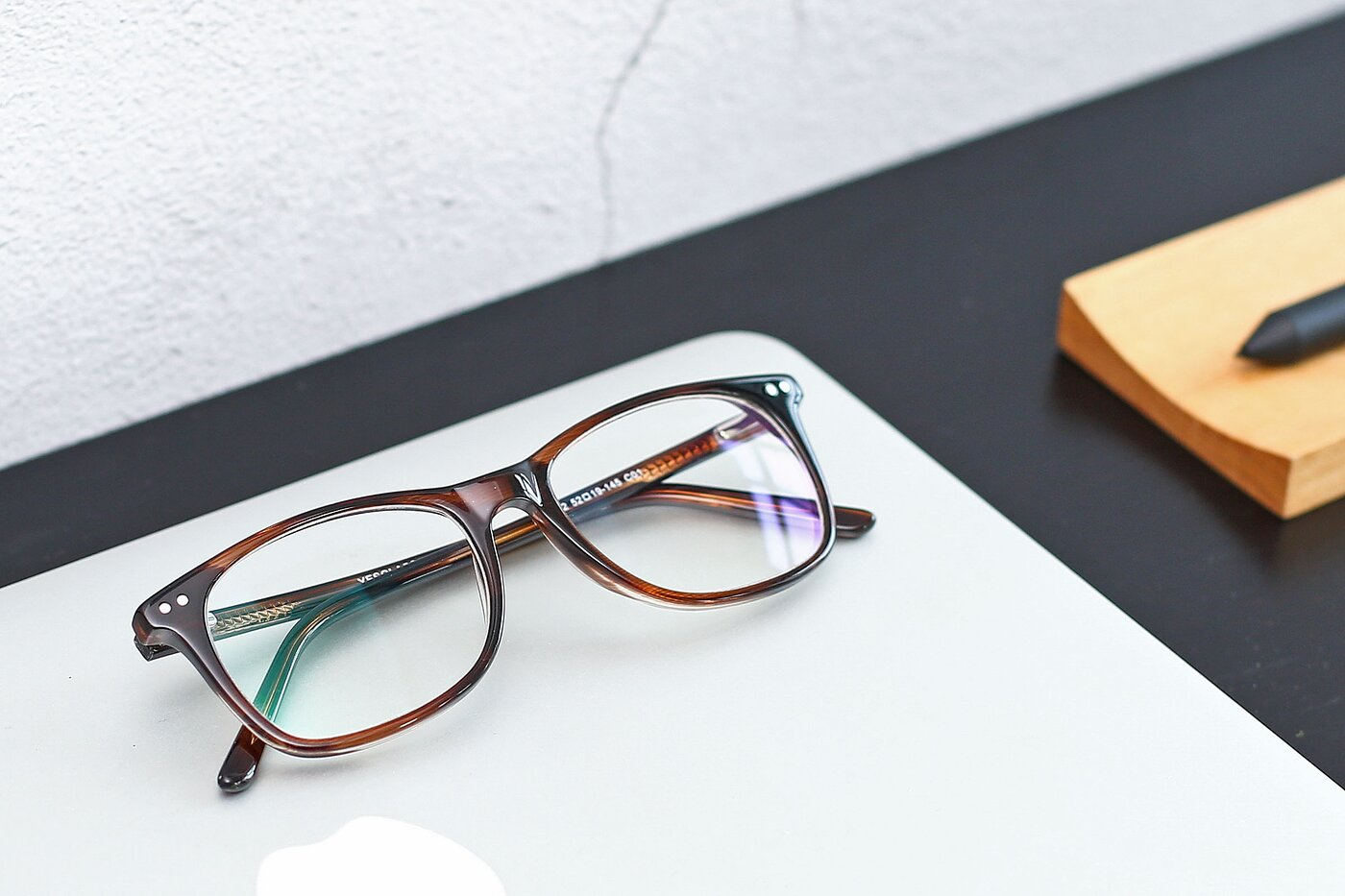 Striped Brown Wayfarer Acetate Rectangle Eyeglasses
