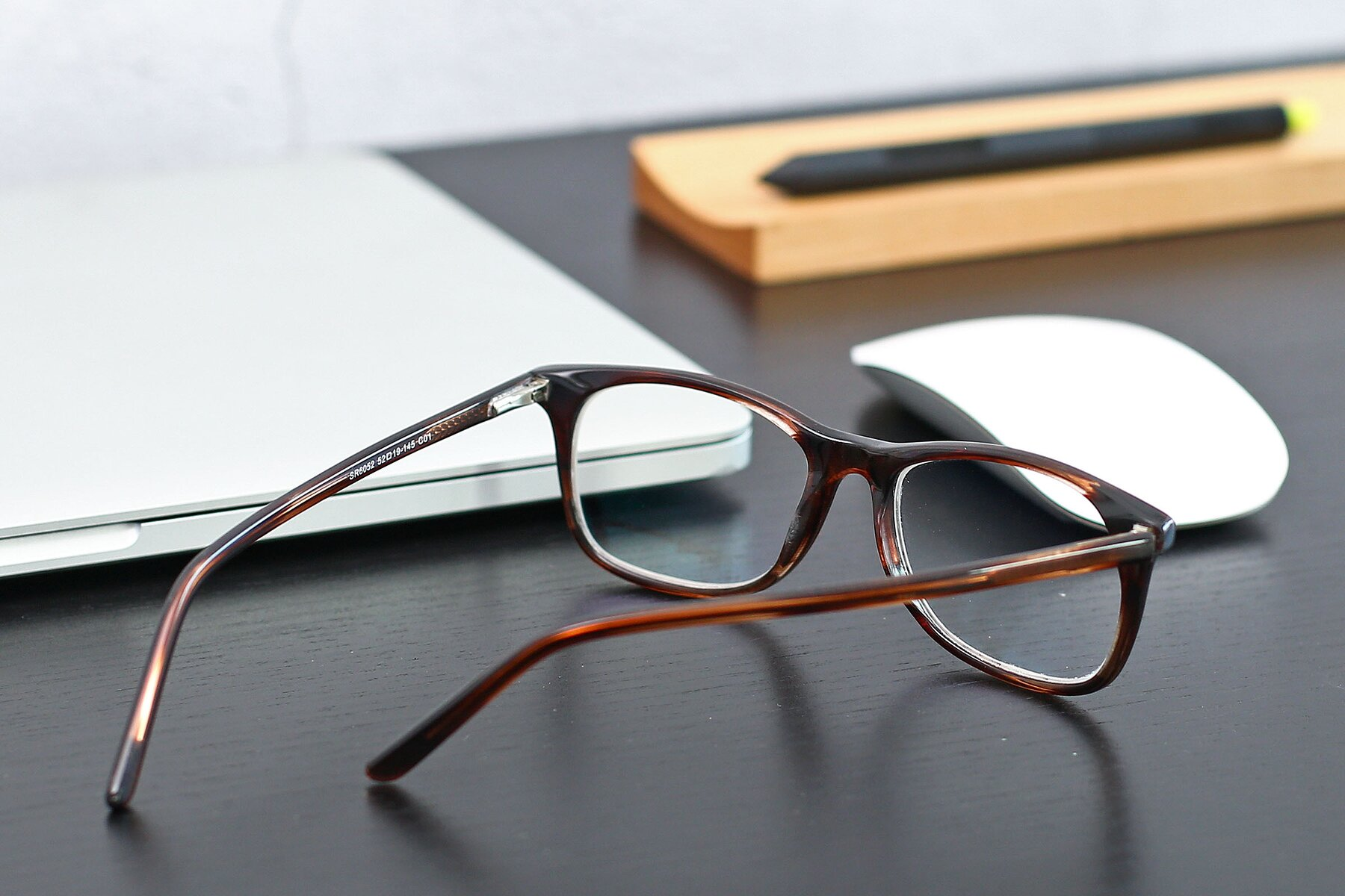 Lifestyle photography #3 of SR6052 in Striped Brown with Clear Eyeglass Lenses