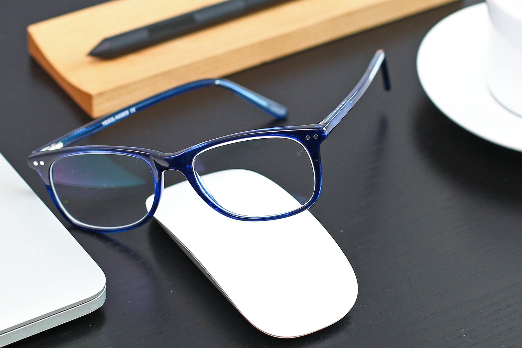 Lifestyle photography #2 of SR6052 in Striped Blue with Clear Blue Light Blocking Lenses