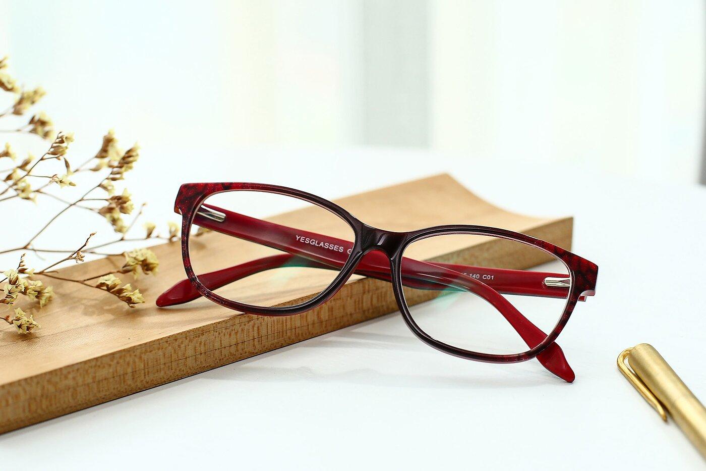 Floral-Wine Wayfarer Hipster Full-Rim Eyeglasses
