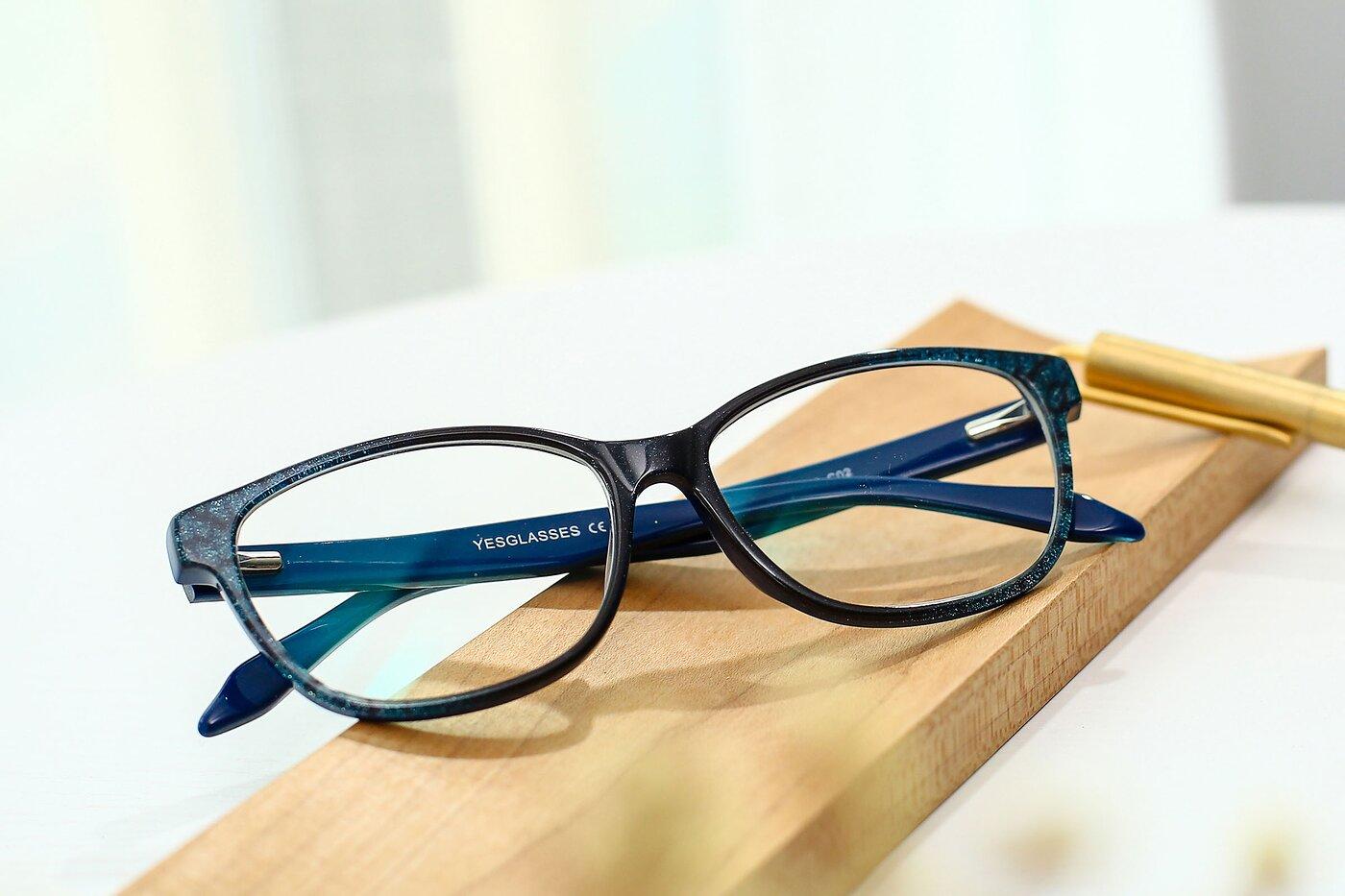 Floral-Teal Wayfarer Hipster Full-Rim Eyeglasses